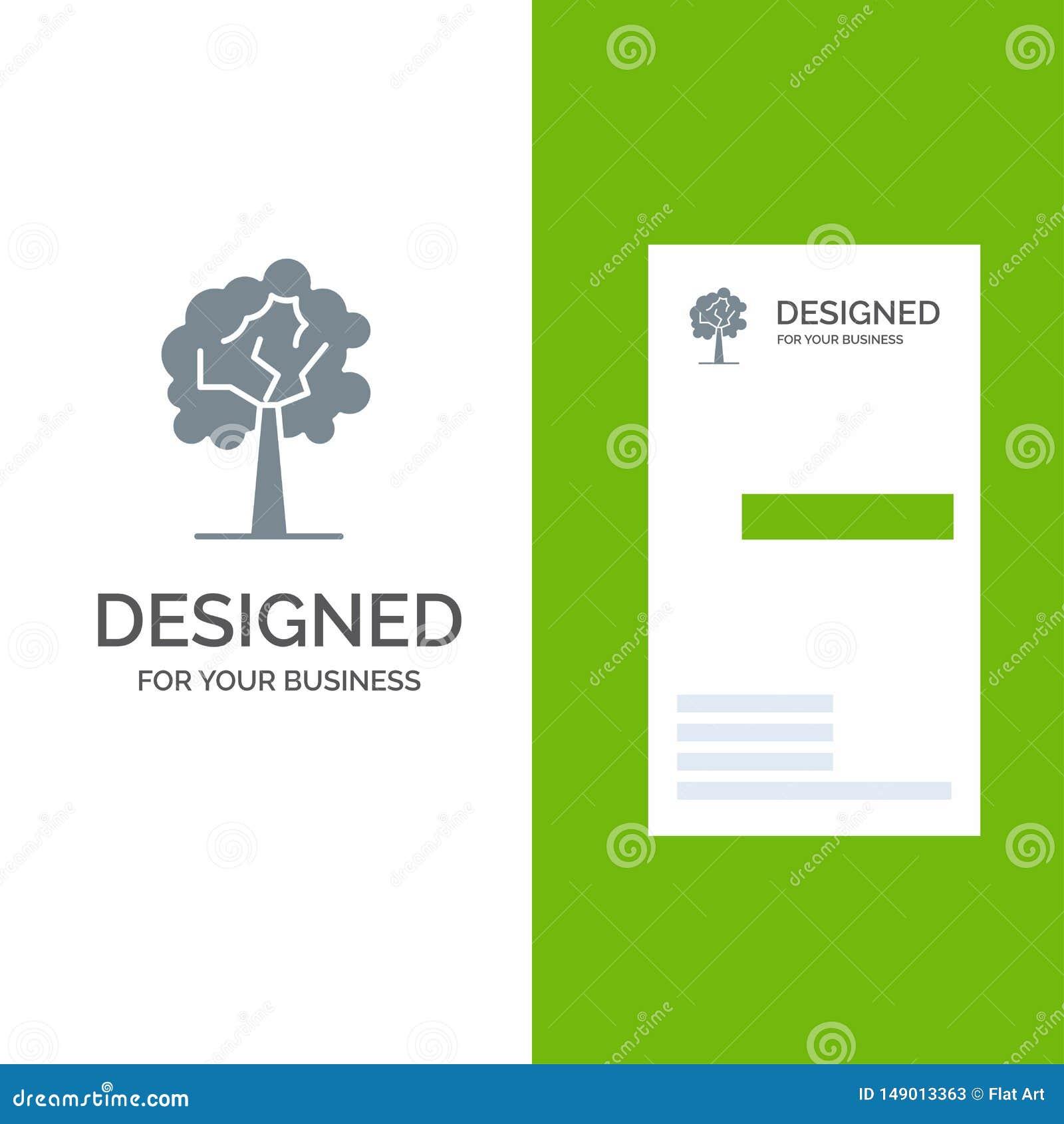 Дерево, завод, дизайн логотипа роста серые и шаблон визитной карточки