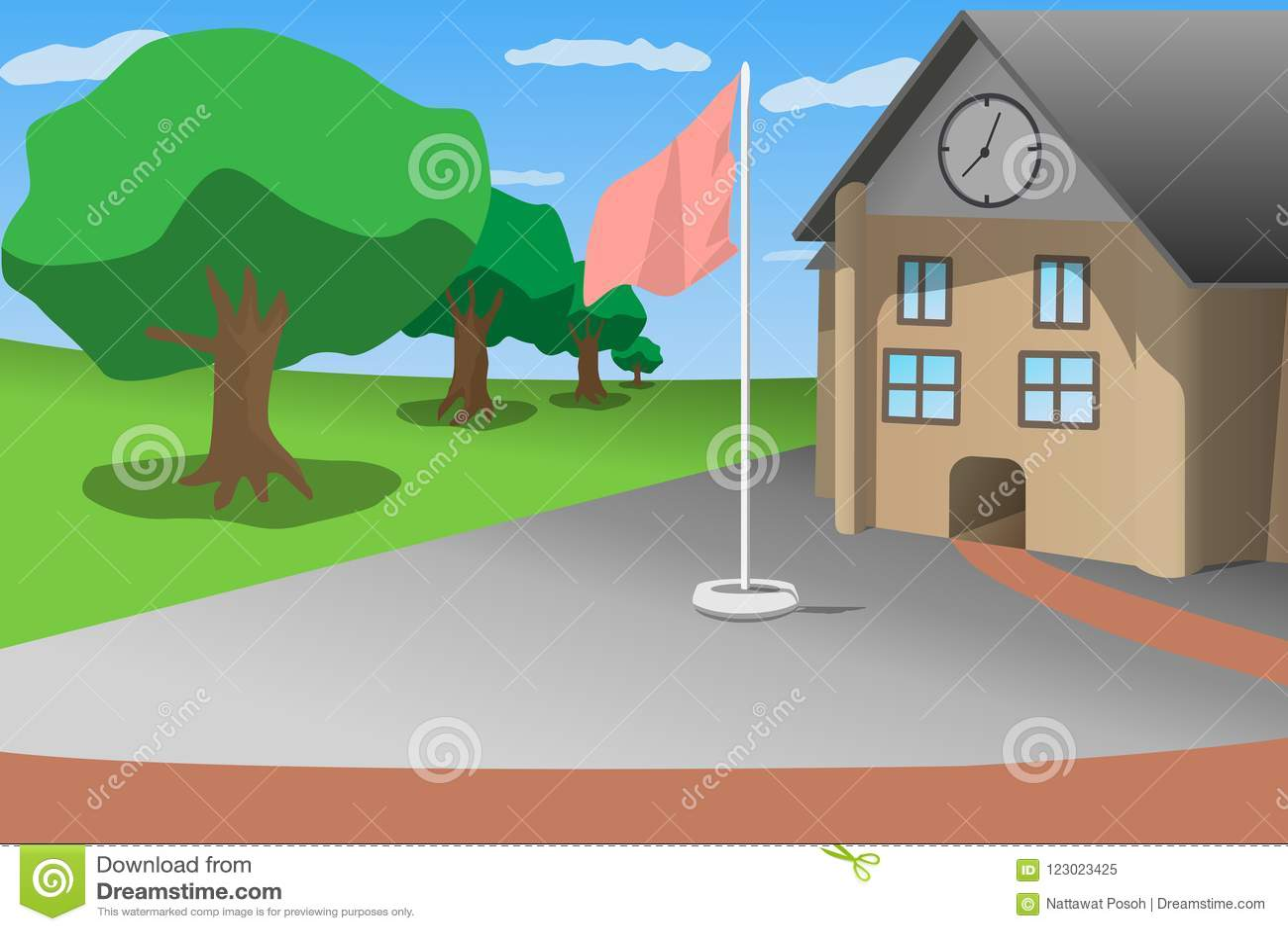 Дерево зеленого цвета голубого неба вид спереди школы и flagstaff, иллюстрация вектора стиля шаржа