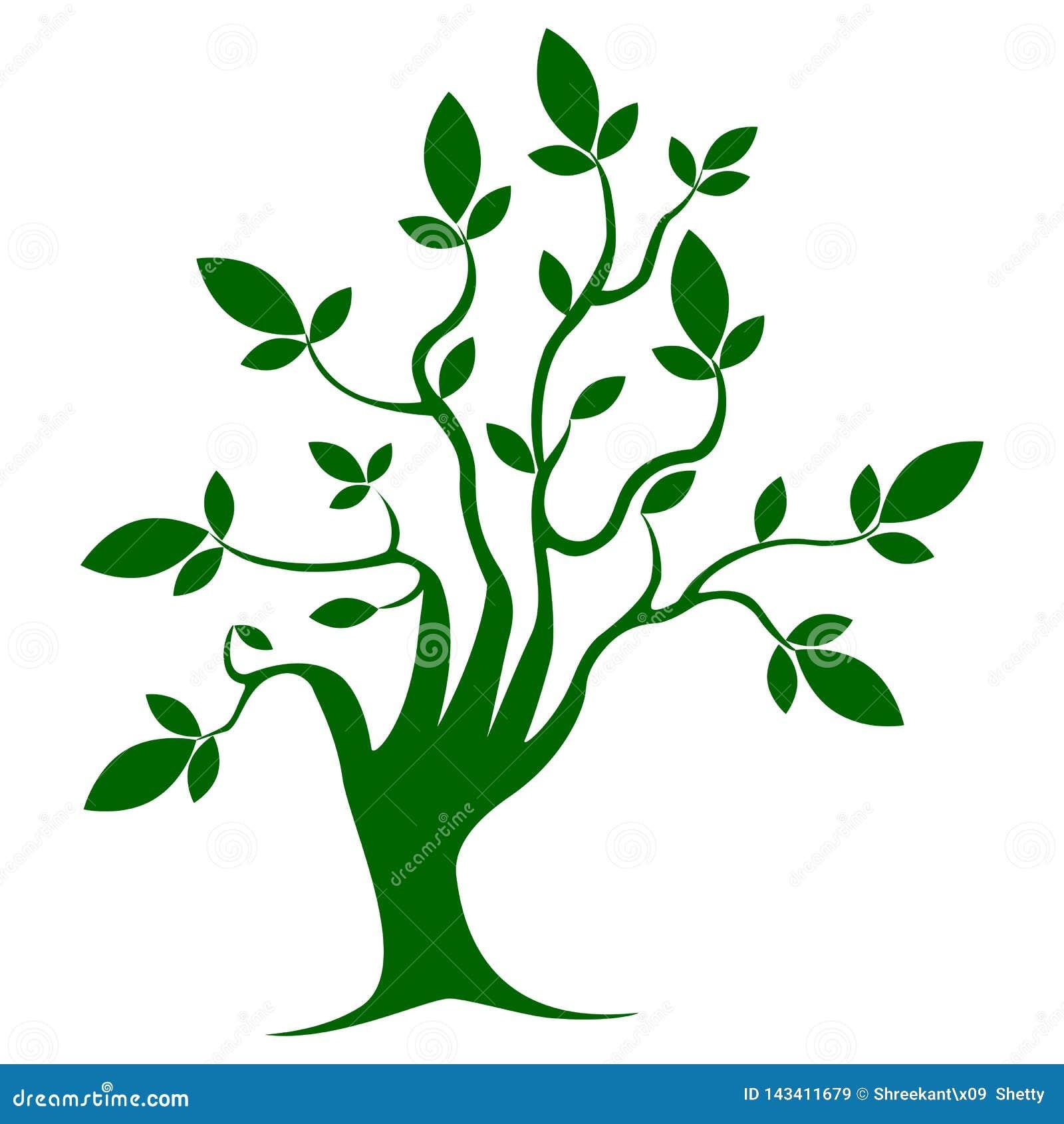 Дерево зеленого цвета, шаблон, символ, рост