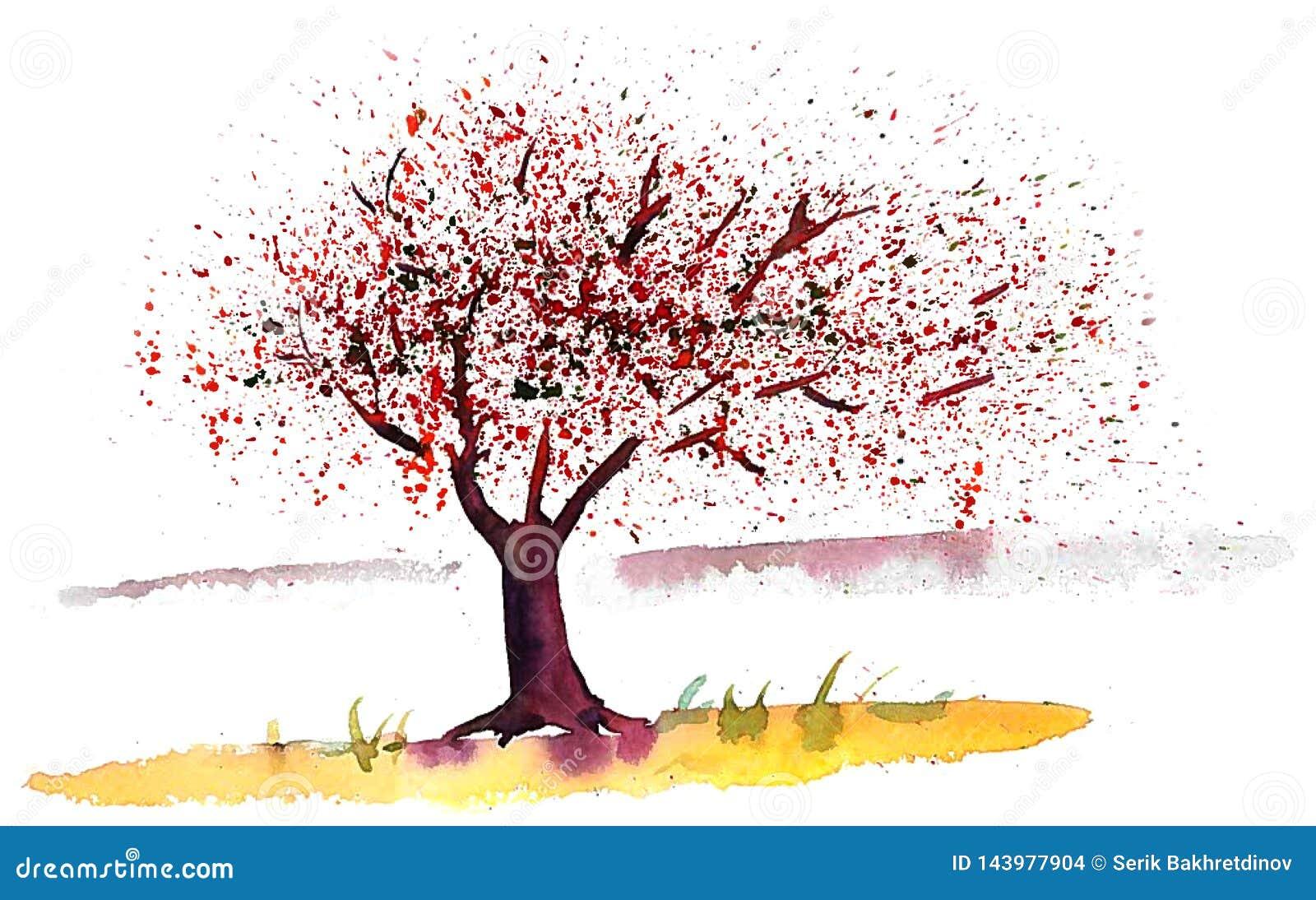 Дерево и цветки весны летая в ветер