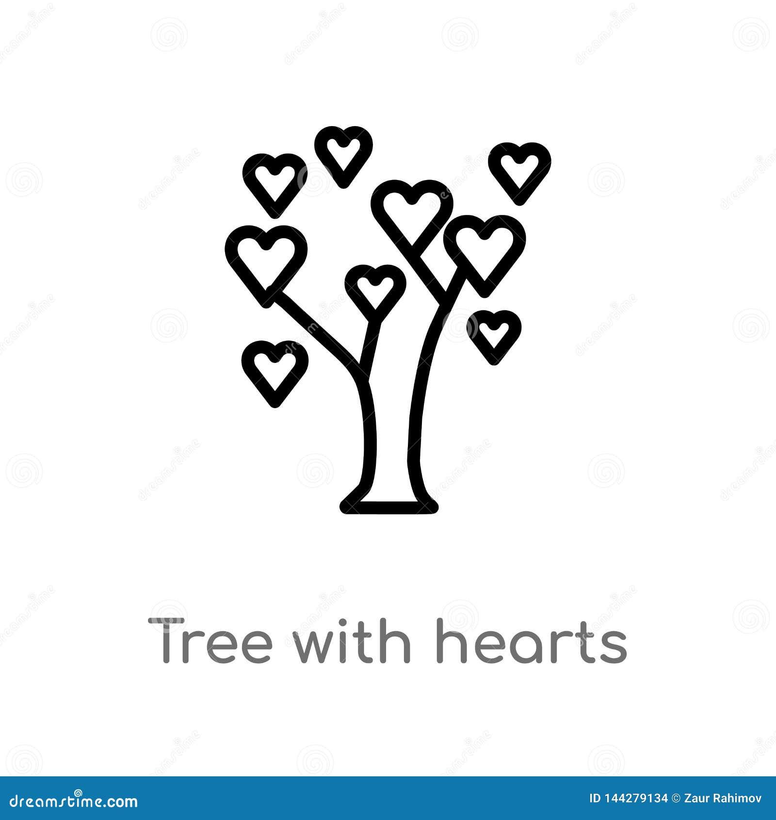 дерево плана со значком вектора сердец изолированная черная простая линия иллюстрация элемента от концепции экологичности Editabl