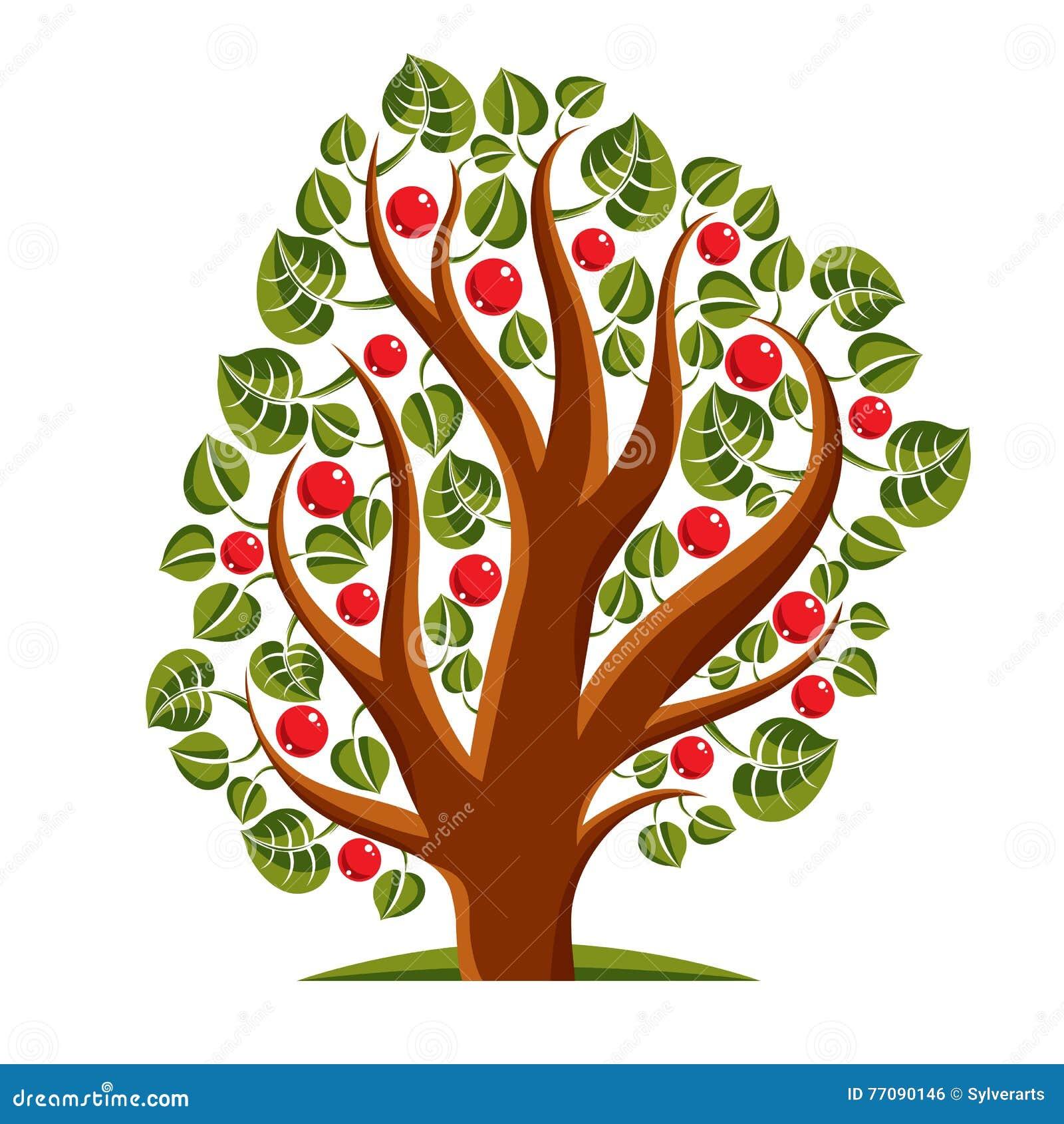 Дерево с зрелыми яблоками, иллюстрация темы сезона сбора ...