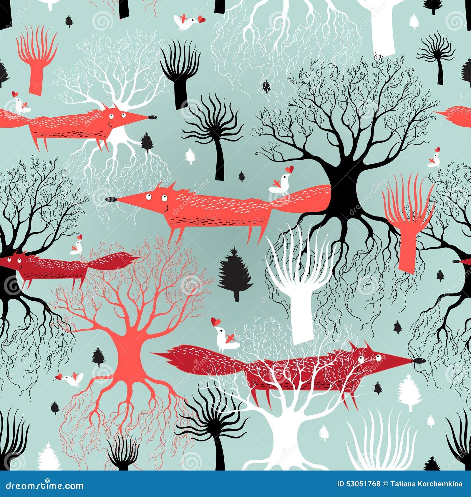 Деревья и лисы картины