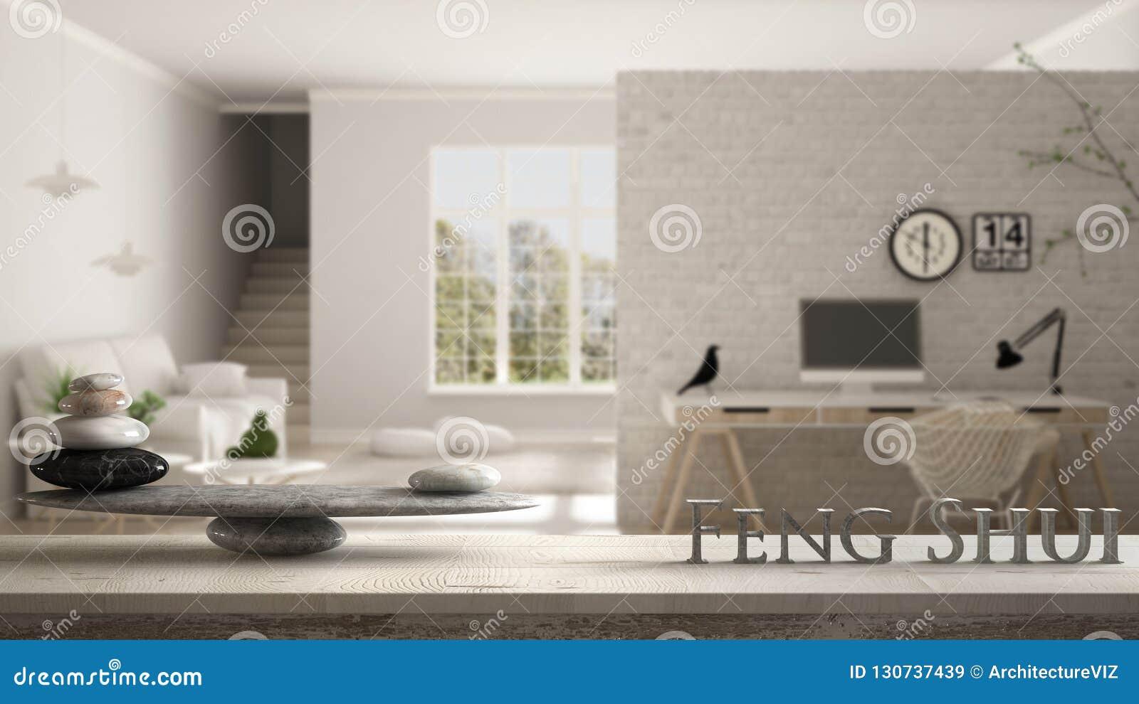 Деревянная винтажная полка таблицы с каменным балансом и письма 3d делая shui feng слова над скандинавской живущей комнатой с угл