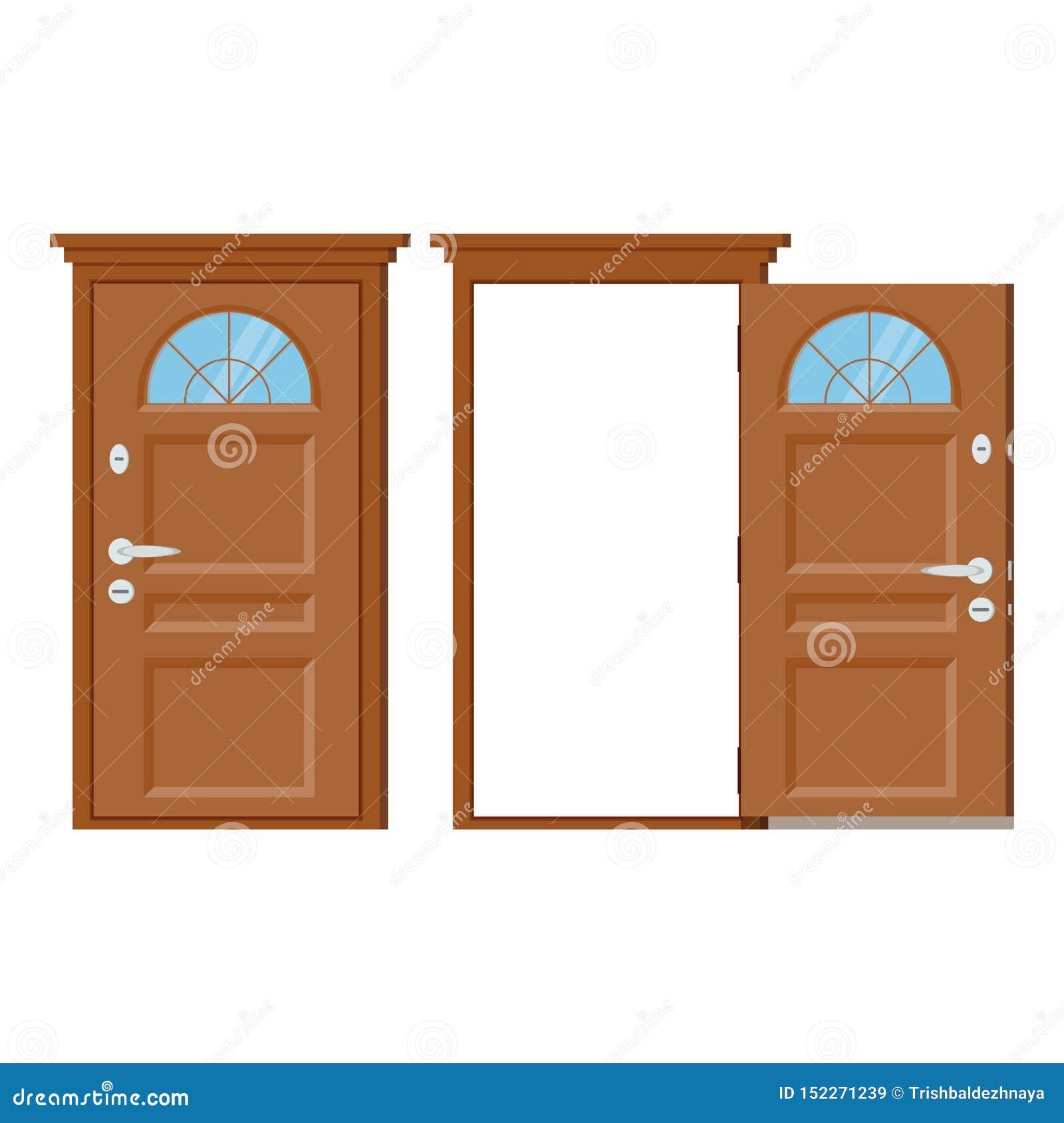 деревянная закрытая и открытая входная дверь с рамкой