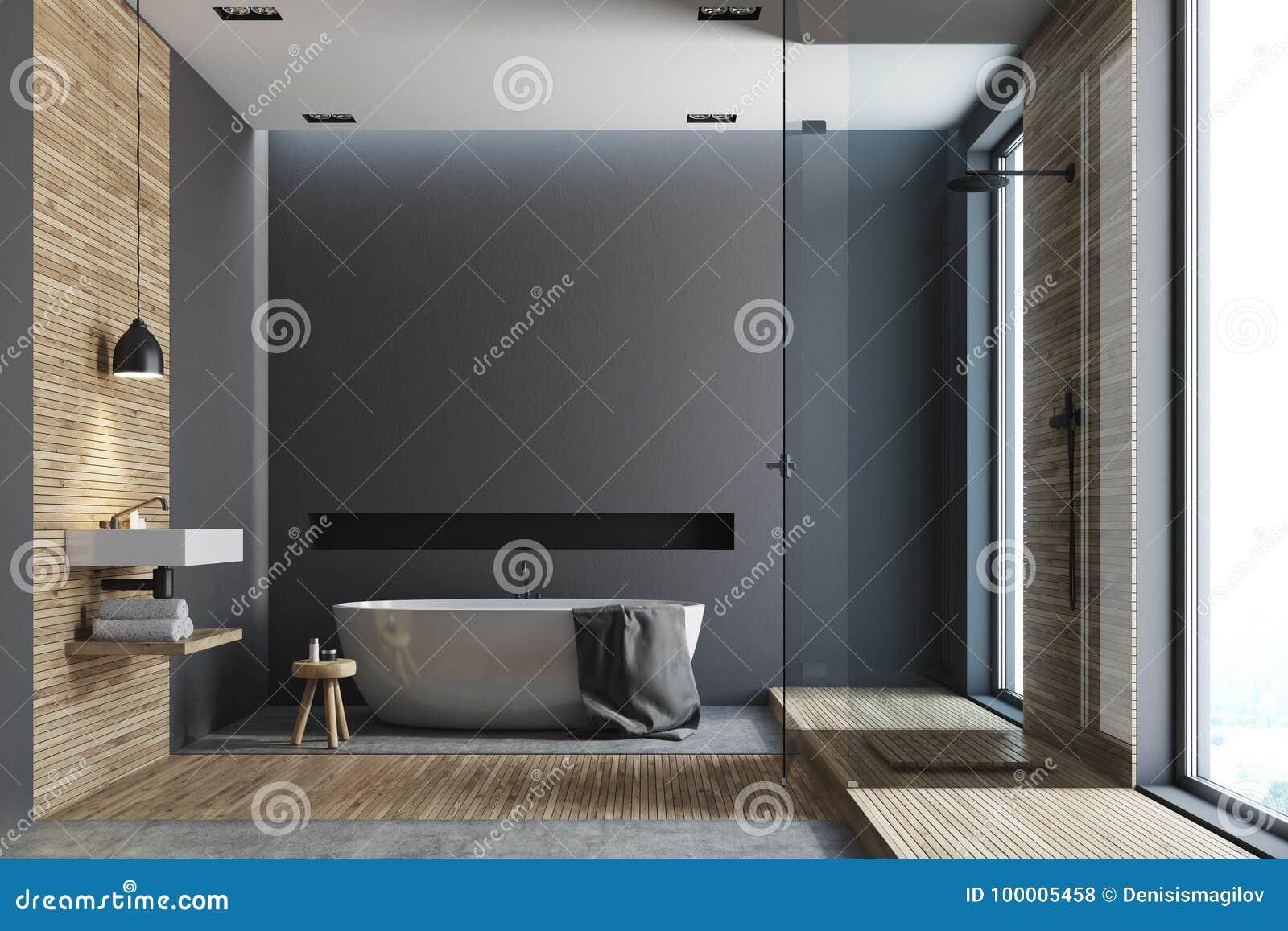 Деревянная и черная ванная комната, круглый ушат