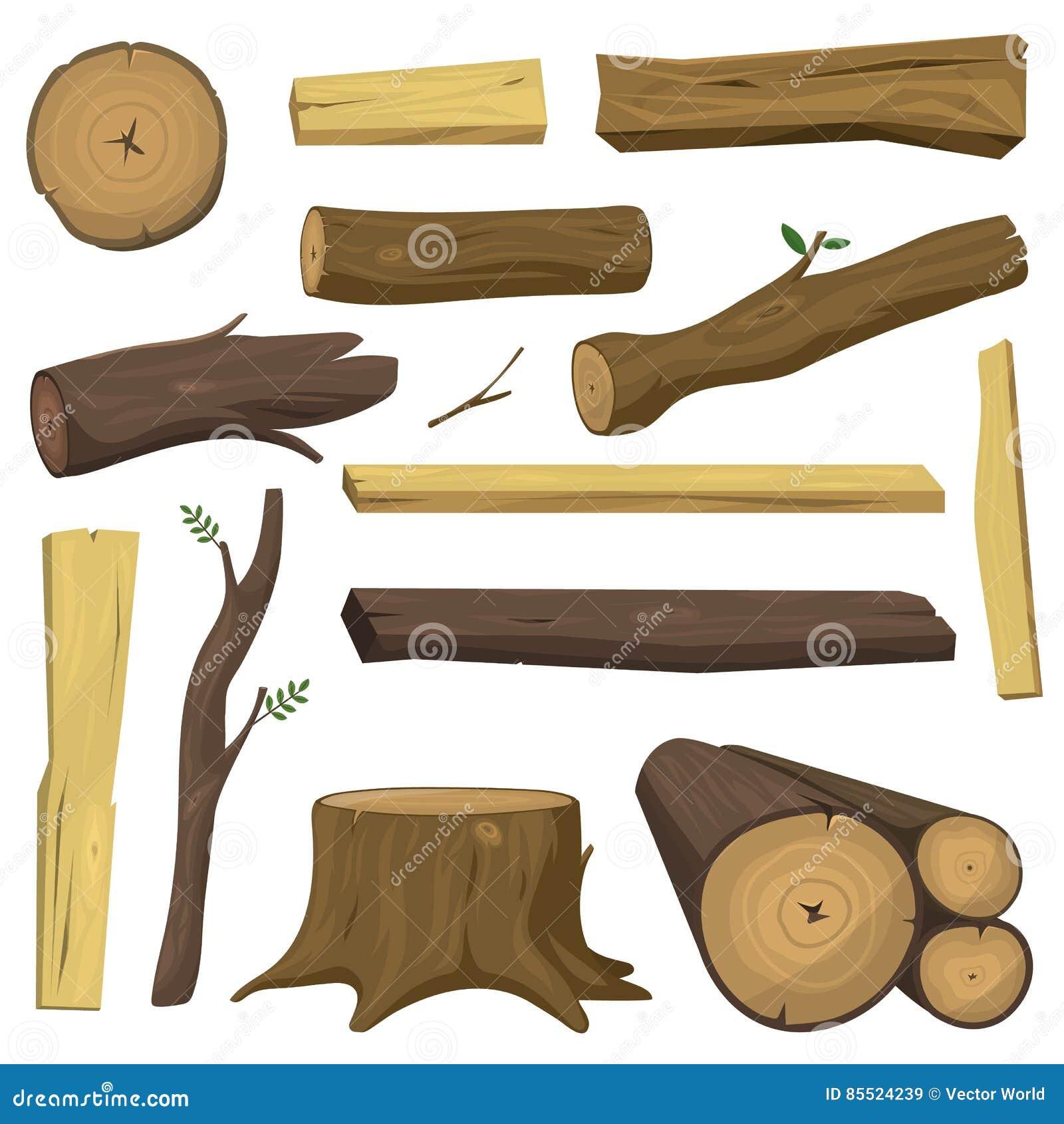 Деревянное изолированное дерево материалов вносит вектор в журнал