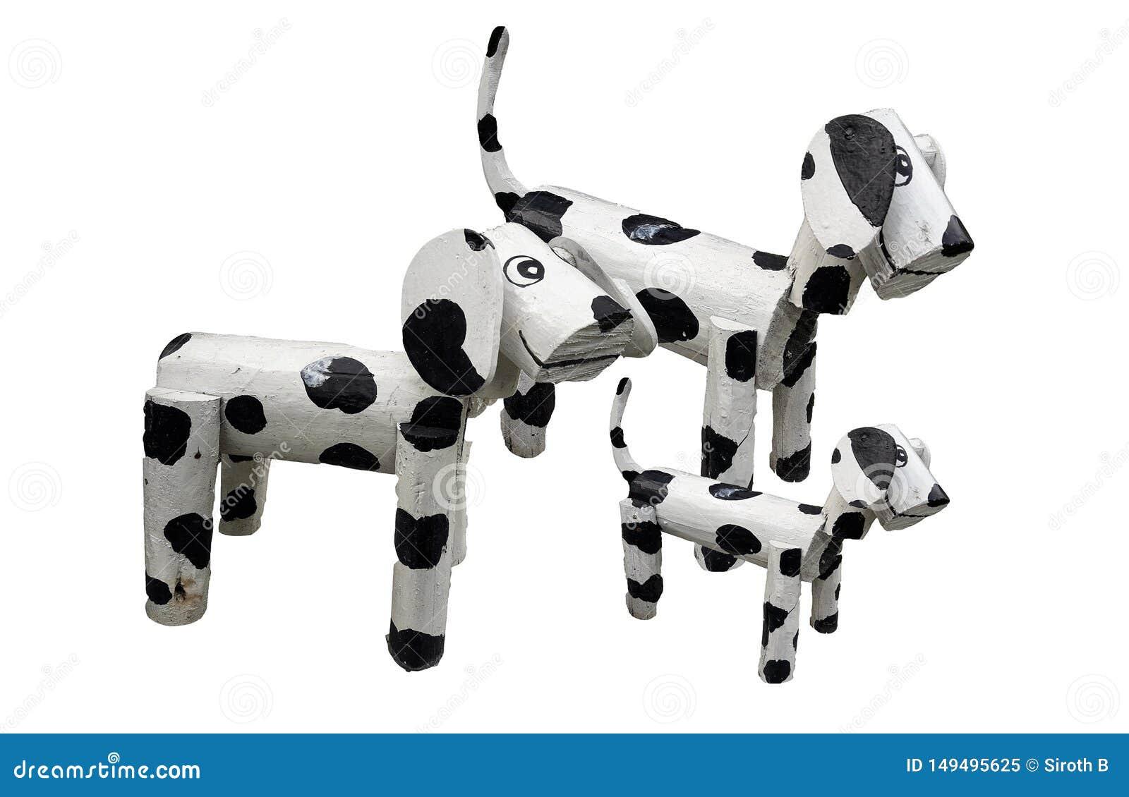 Деревянное положение семьи собак изолированное на белом backgtound