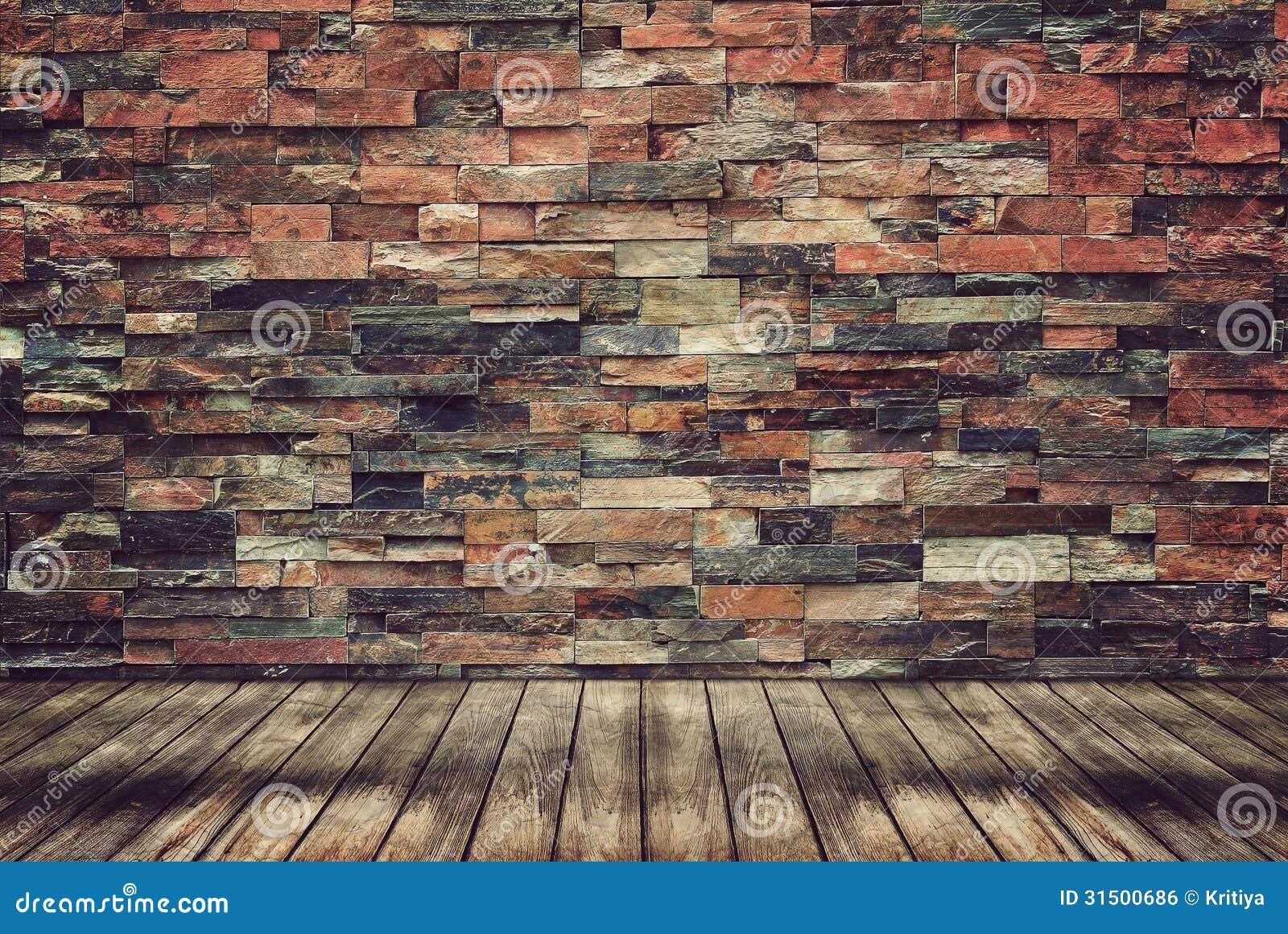 Деревянные пол и кирпичная стена для винтажных обоев
