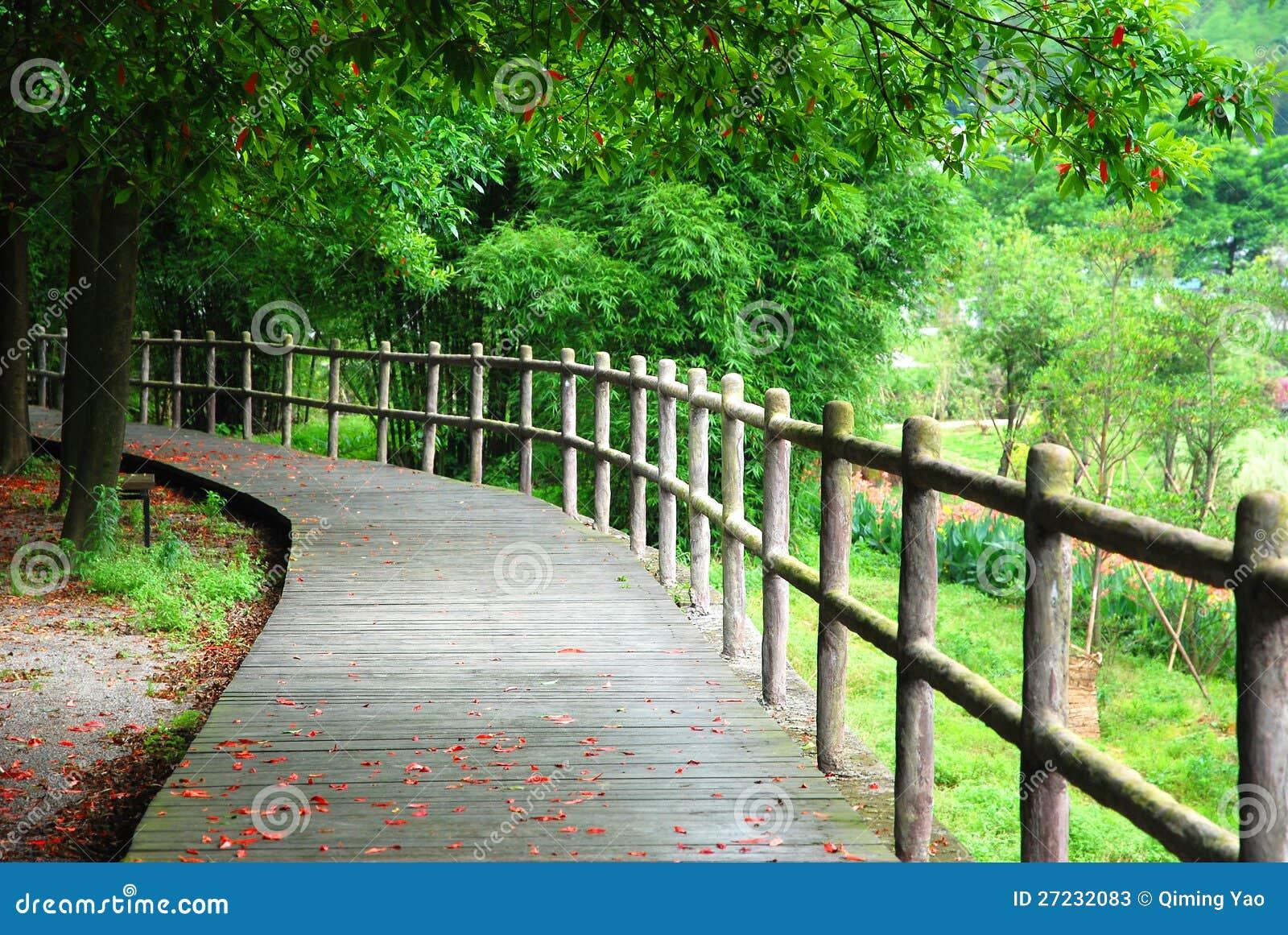 Деревянные путь и поручень