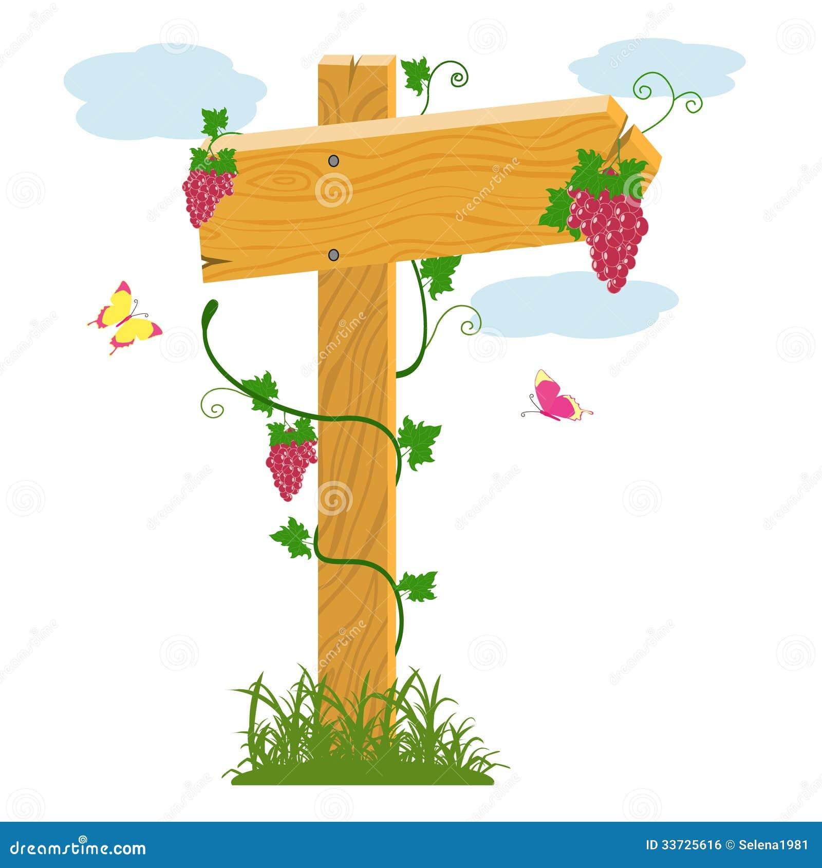 Деревянные стрелка и виноградины