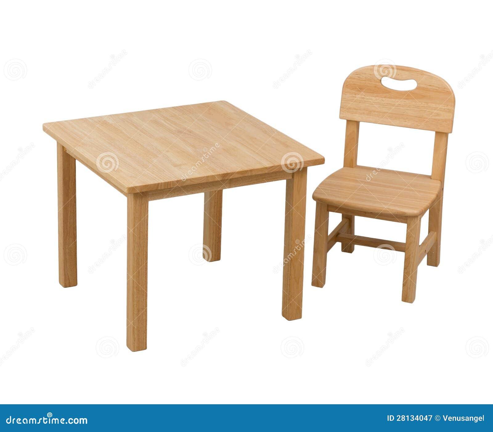 деревянные стул и стол для малыша стоковое изображение