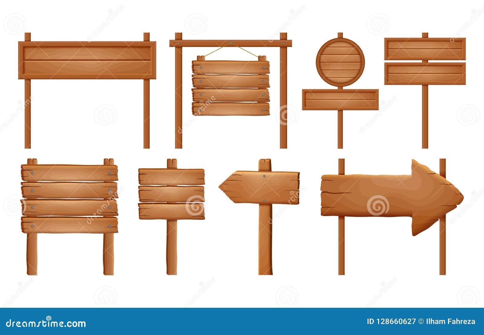 Деревянные шильдики, деревянный комплект знака стрелки Пустое собрание знамени шильдика изолированное на белой предпосылке Деревя