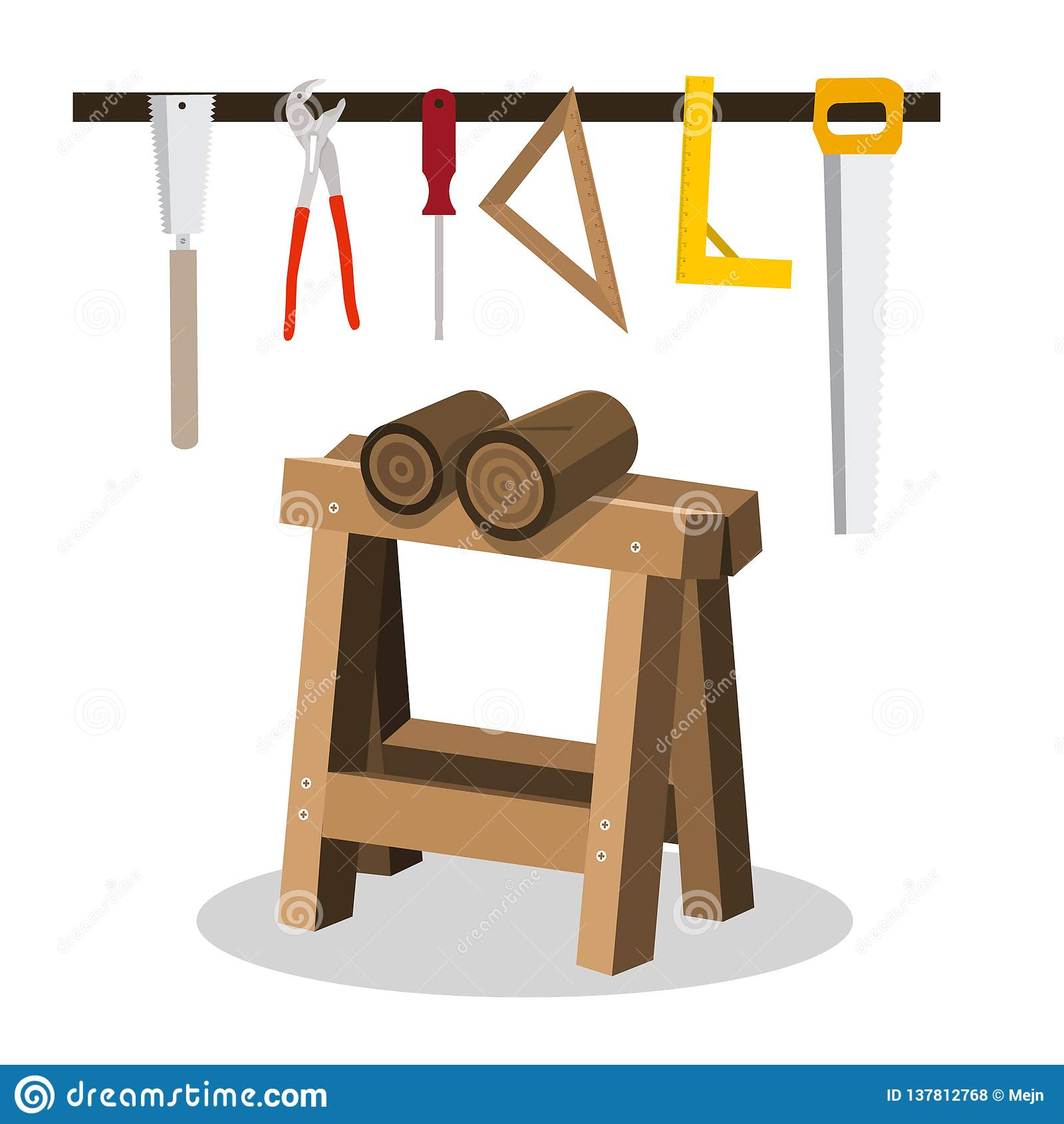 Деревянный входит в систему Sawhorse с концепцией пил и инструментов