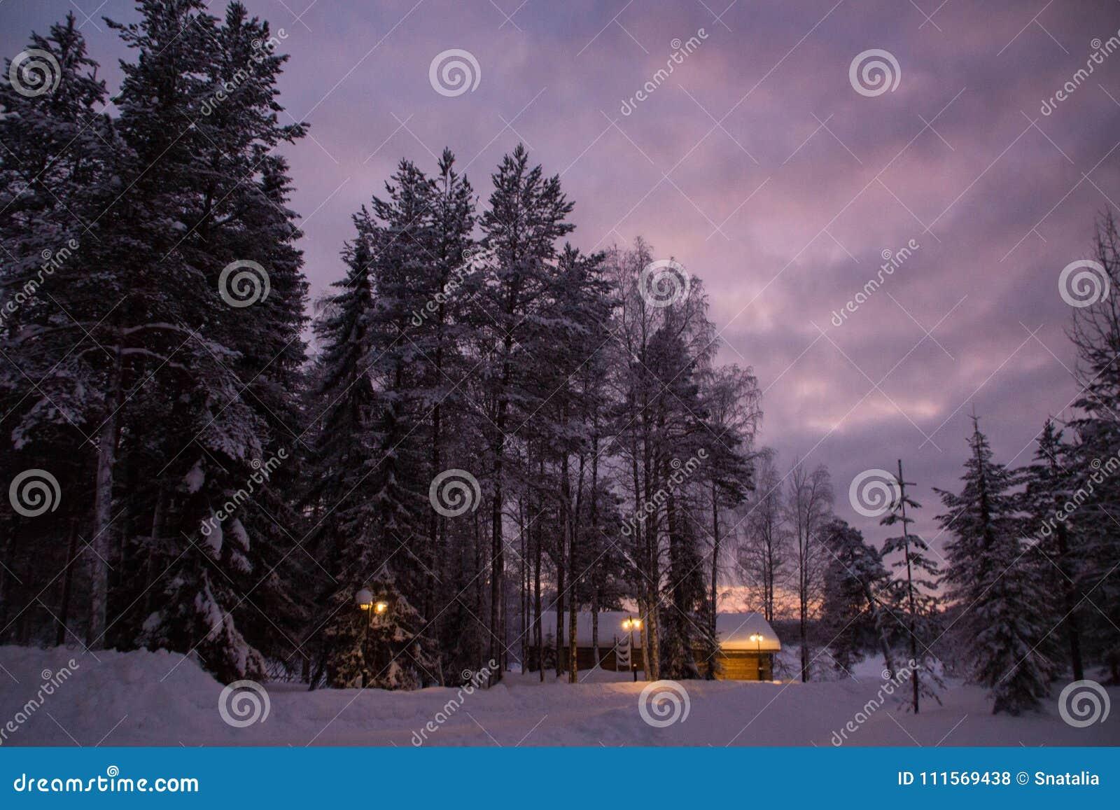 Деревянный дом в вечере в зиме