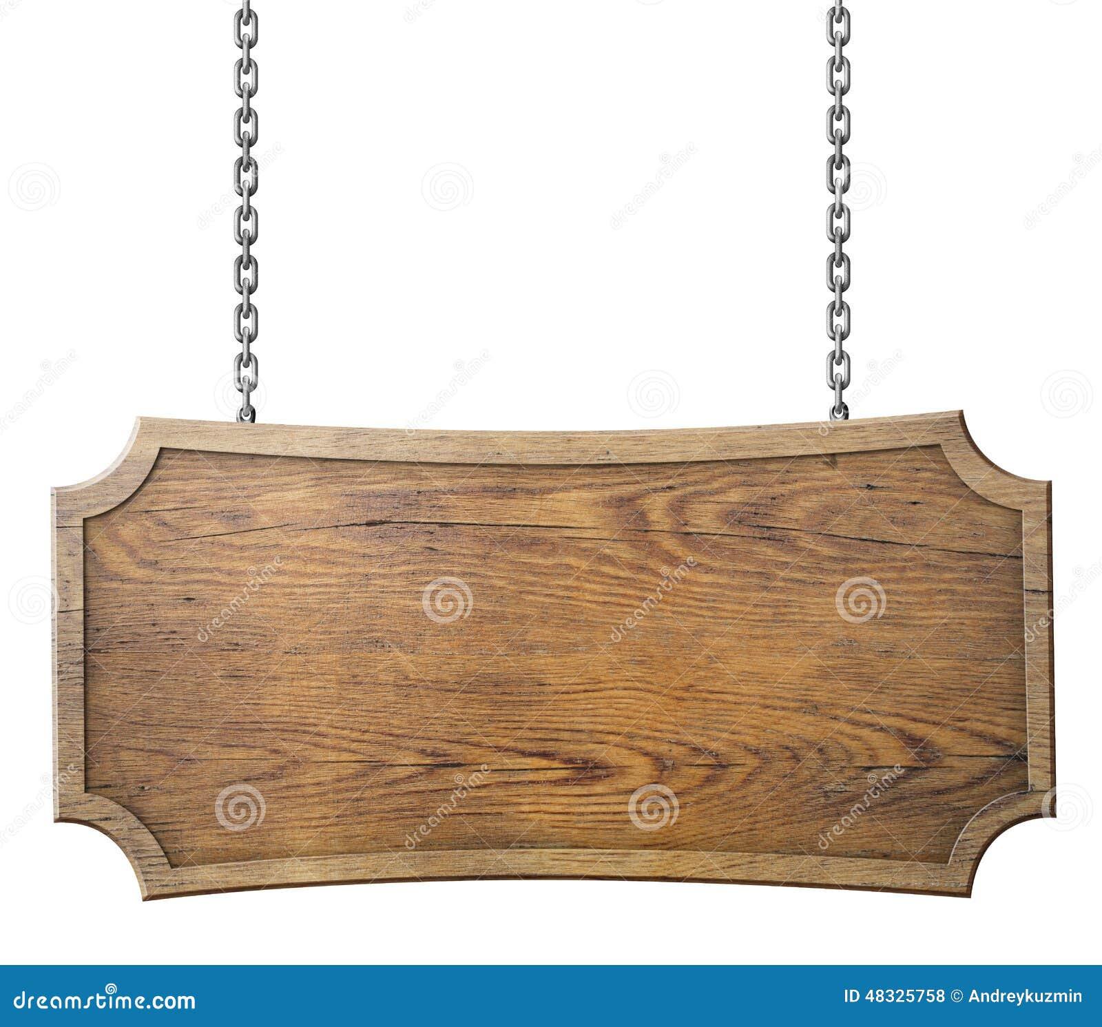 Деревянный знак на цепи изолированной на белизне