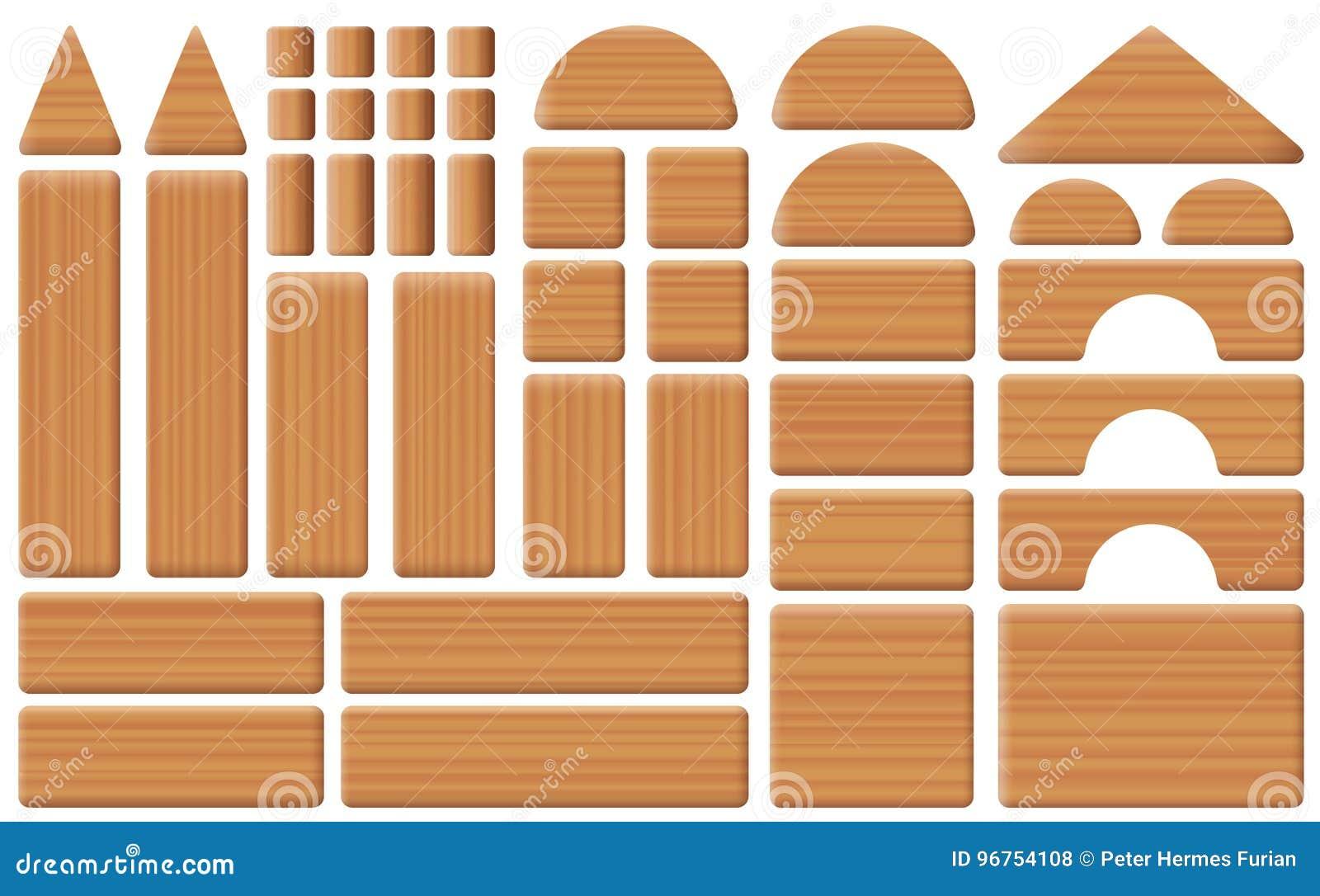 Деревянный комплект собрания блоков игрушки