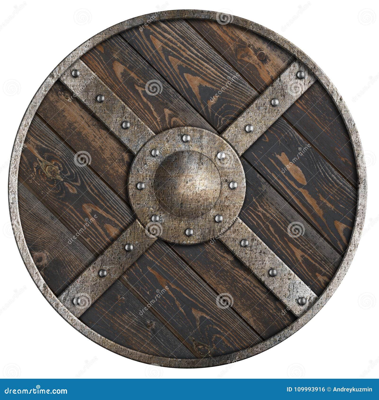 Деревянный средневековый круглый экран с рамкой и крестом металла изолировал иллюстрацию 3d