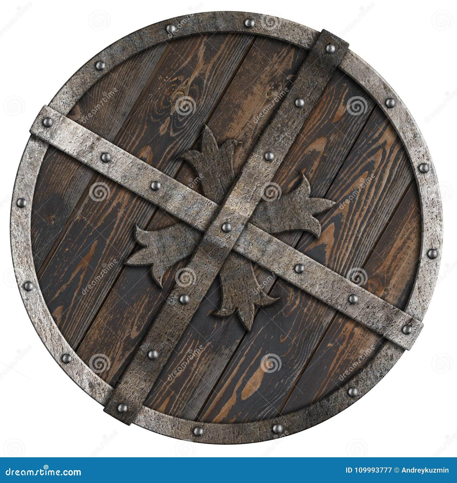 Деревянный средневековый круглый экран с рамкой металла и перекрестной иллюстрацией 3d