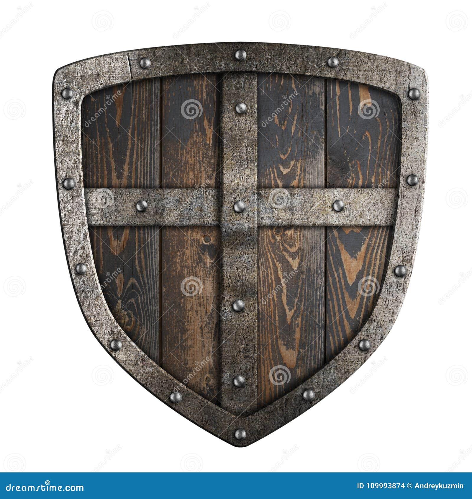 Деревянный средневековый экран Викингов с рамкой металла и перекрестной иллюстрацией 3d