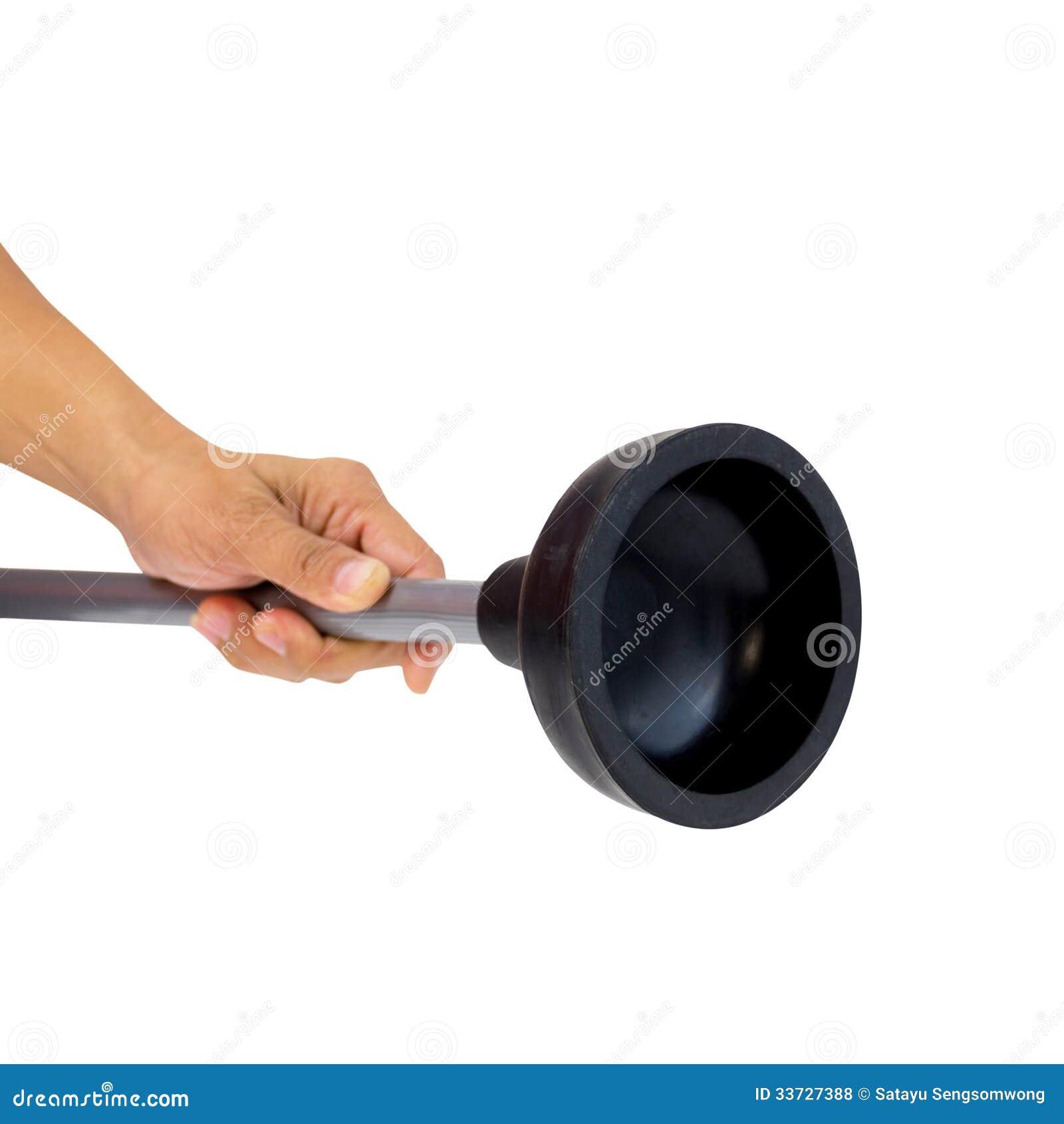 Держащ черный резиновый плунжер для насоса туалета изолированный