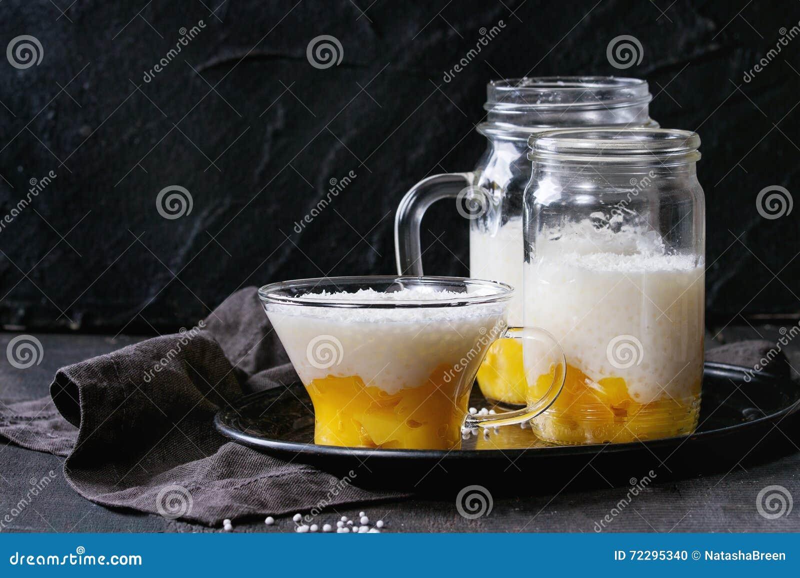 Download Десерт тапиоки с манго стоковое фото. изображение насчитывающей рис - 72295340
