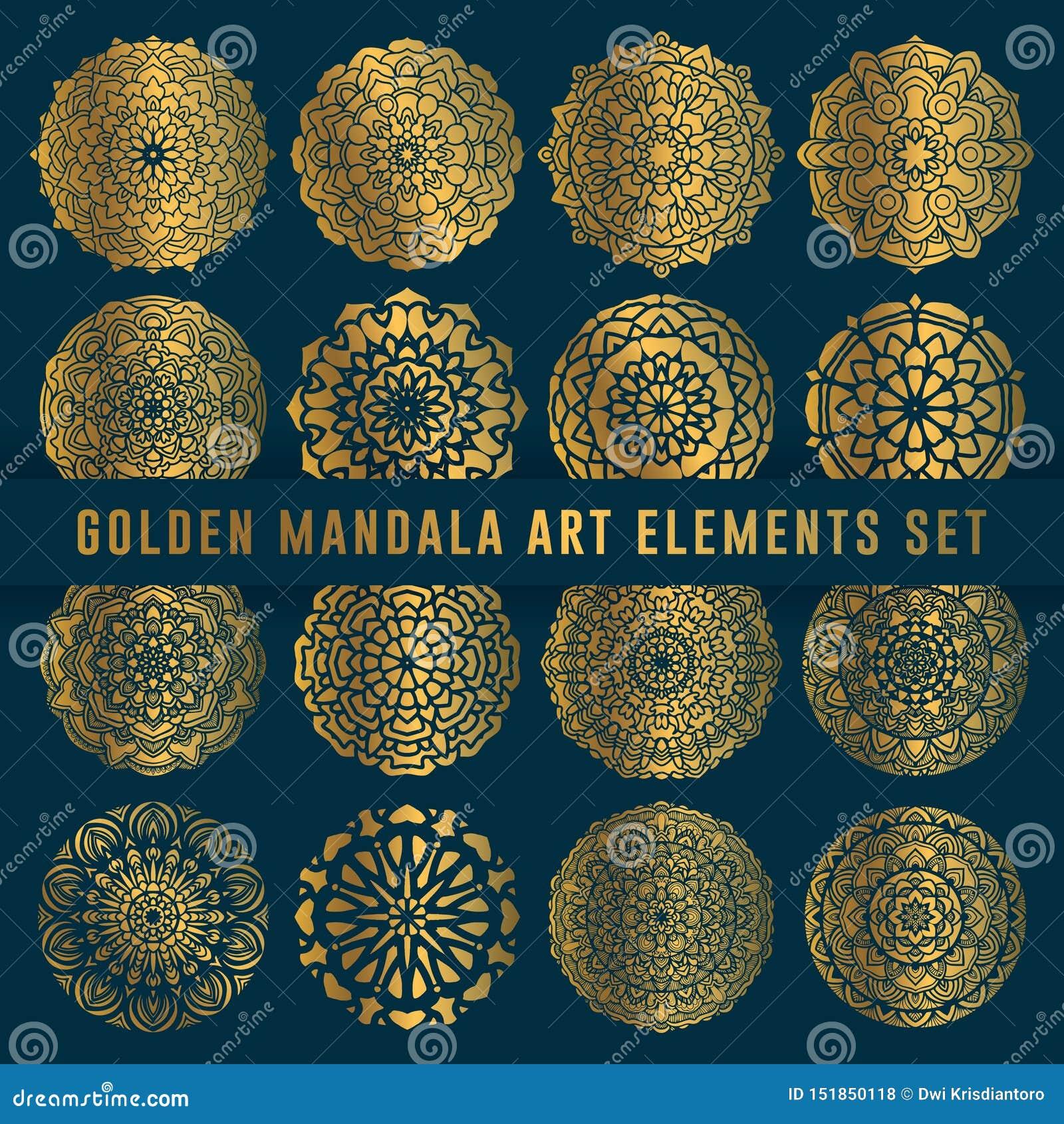 Детальный золотой элемент набора искусства мандалы Винтажное искусство мандалы с округленным флористическим абстрактным орнаменто