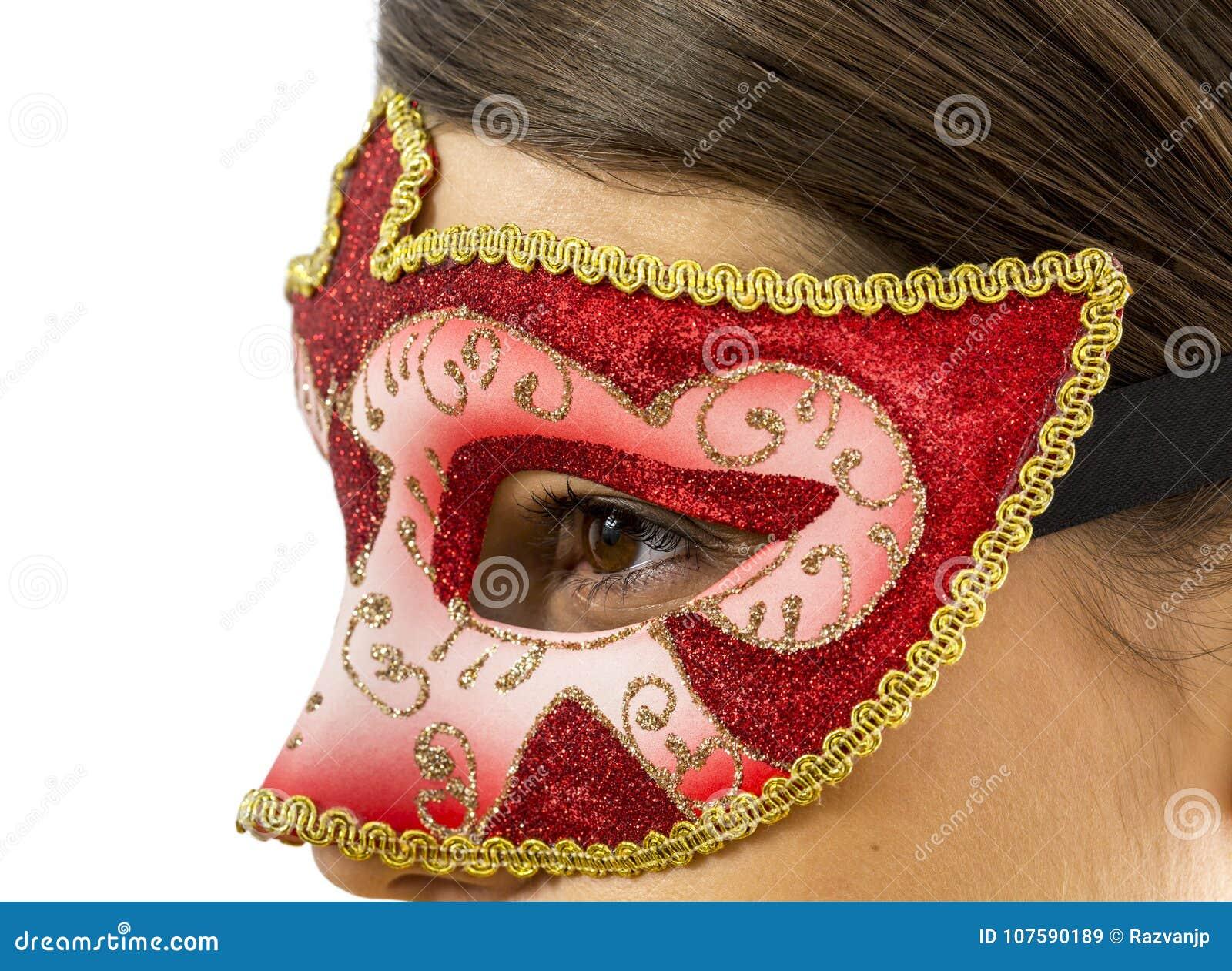 Деталь женщины с венецианской маской
