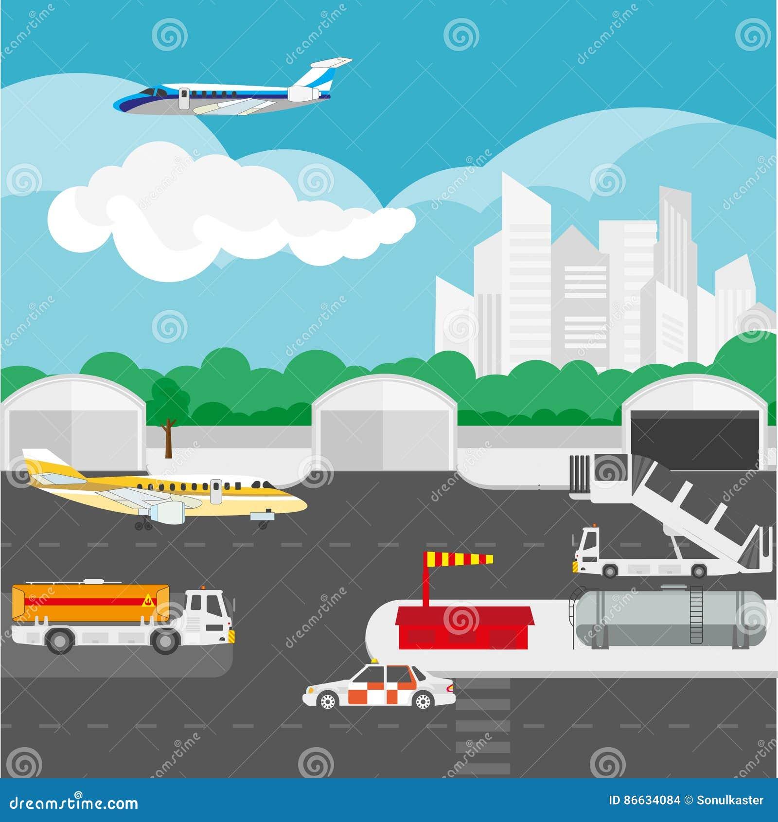 Детали авиапорта плоские и элементы вектора