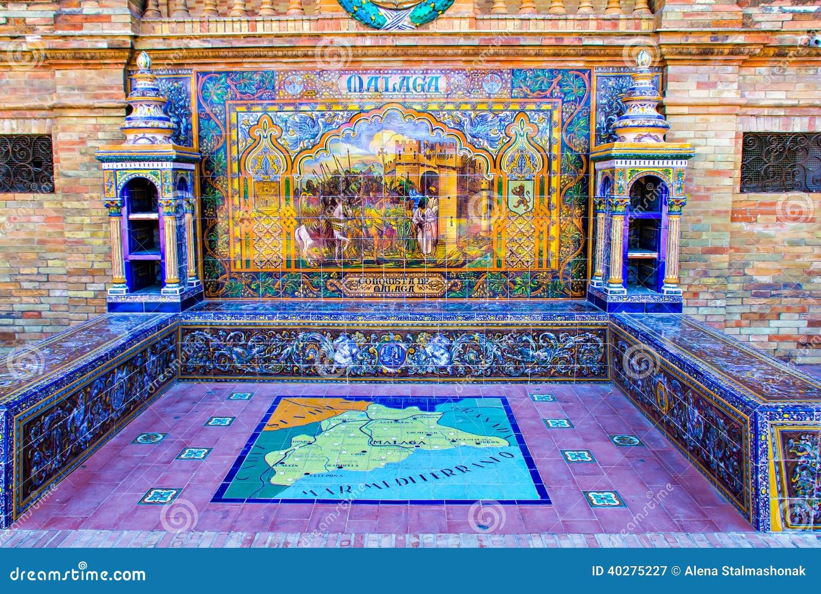 Детали Площади de Espana (Малага)
