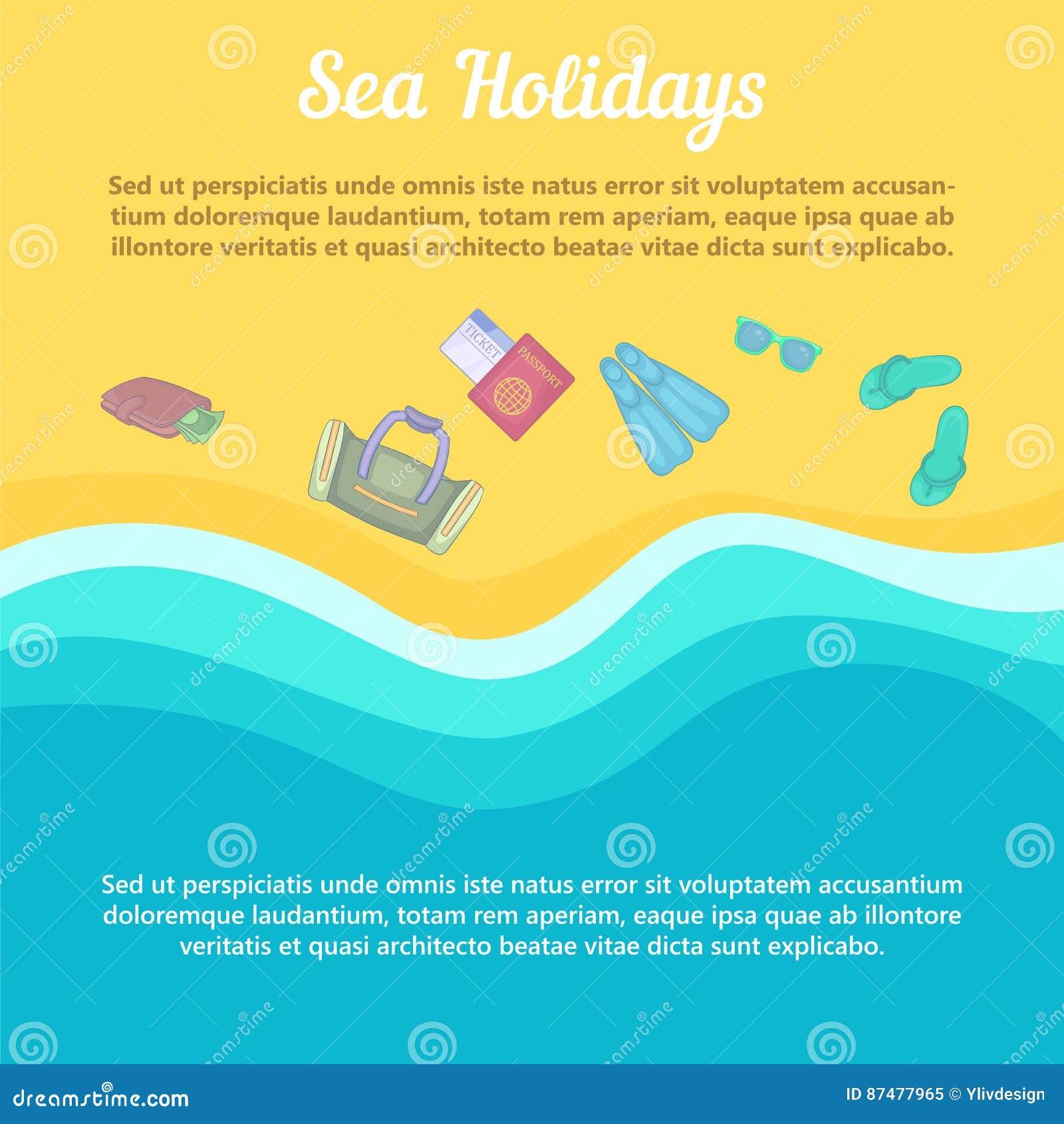 Детали пляжа концепции остатков моря, стиль шаржа