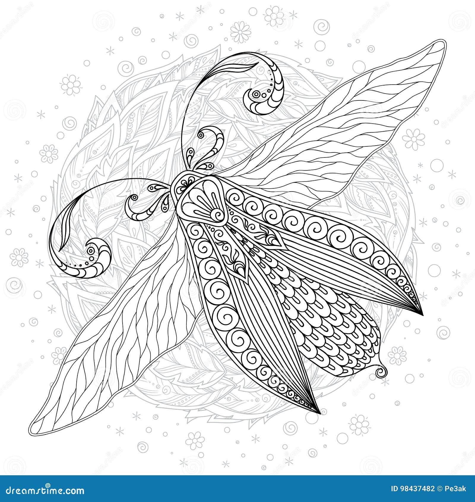 детальный орнаментальный эскиз сумеречницы иллюстрация
