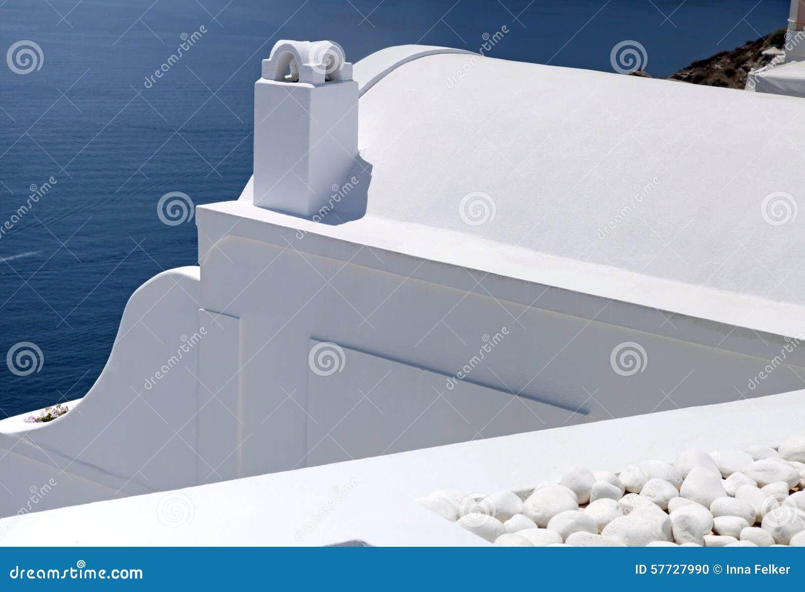 Деталь белизны помыла традиционные дома, Грецию, Santorini isl