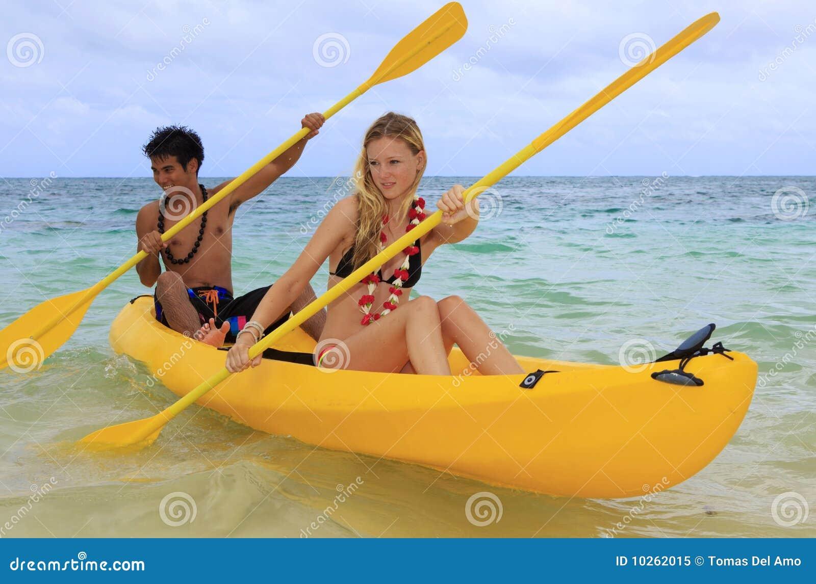 детеныши затвора kayak Гавайских островов пар