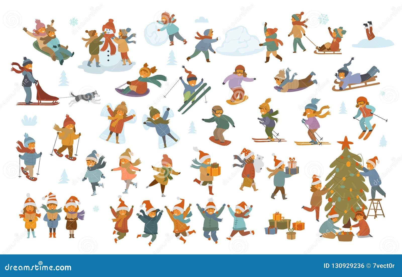 Дети активной зимы и веселого рождества, мальчик и девушки делая ангела снега снеговика, игры, sledding, катания на коньках, ката