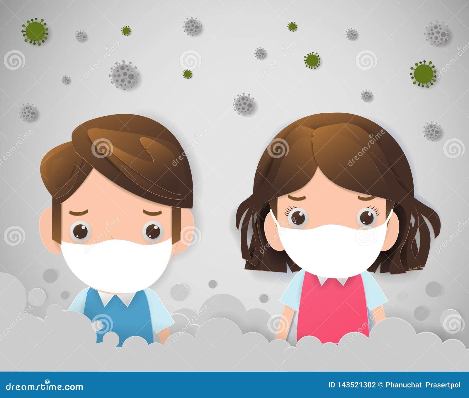 Дети в масках из-за точной пыли премьер-министра 2 маска 5, мальчика и девушки нося против смога Точная пыль, загрязнение воздуха