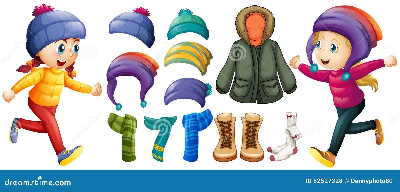 Дети и установленные одежды зимы