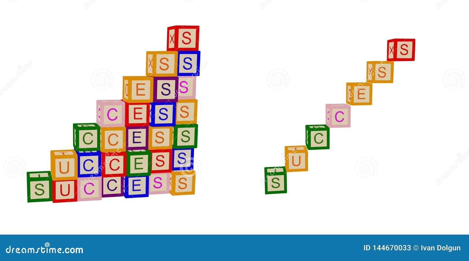 Дети красят кубы с письмами Успех На дело и жизнь Лестницы вектор