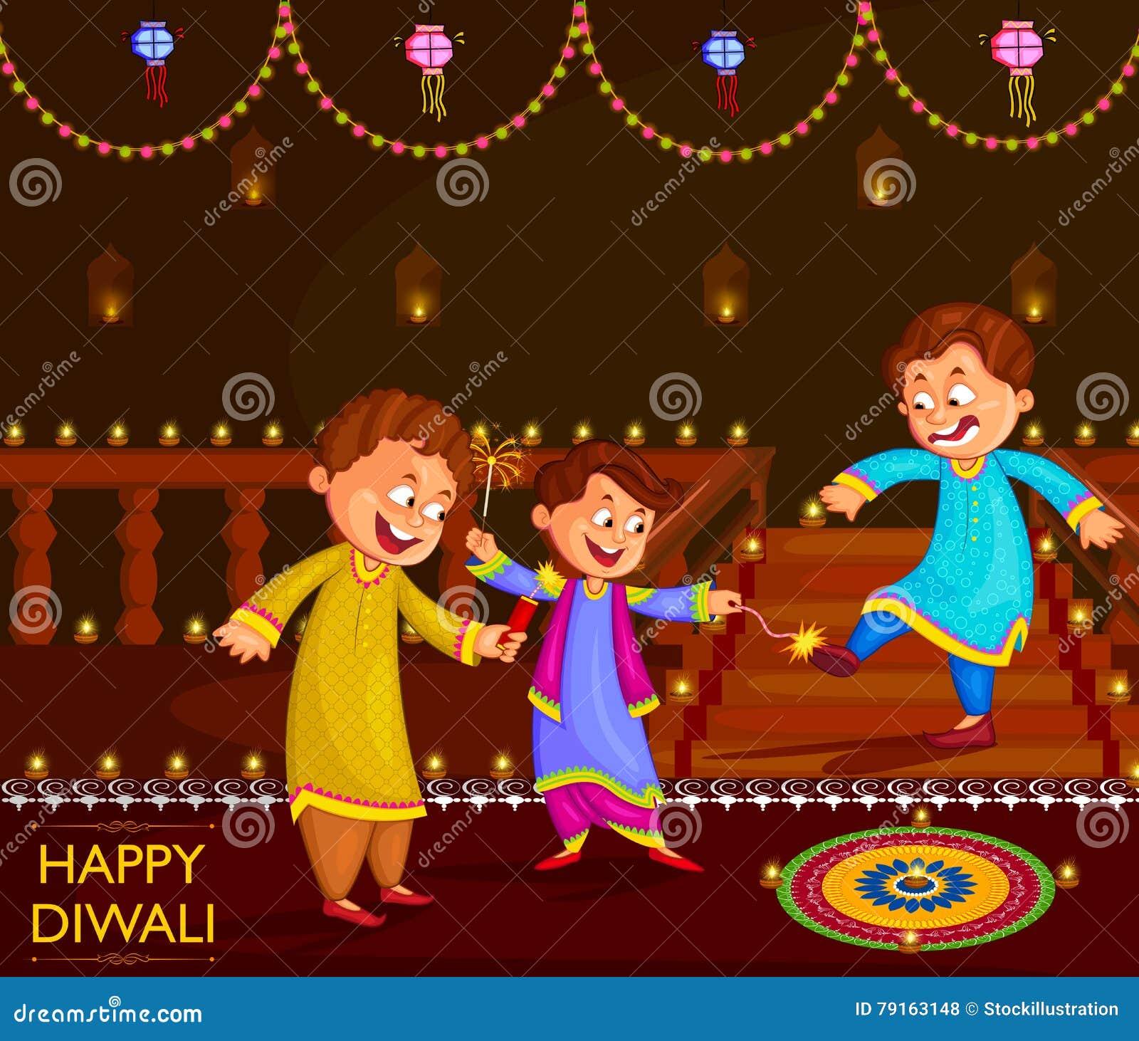 Дети наслаждаясь фейерверком празднуя фестиваль Diwali Индии