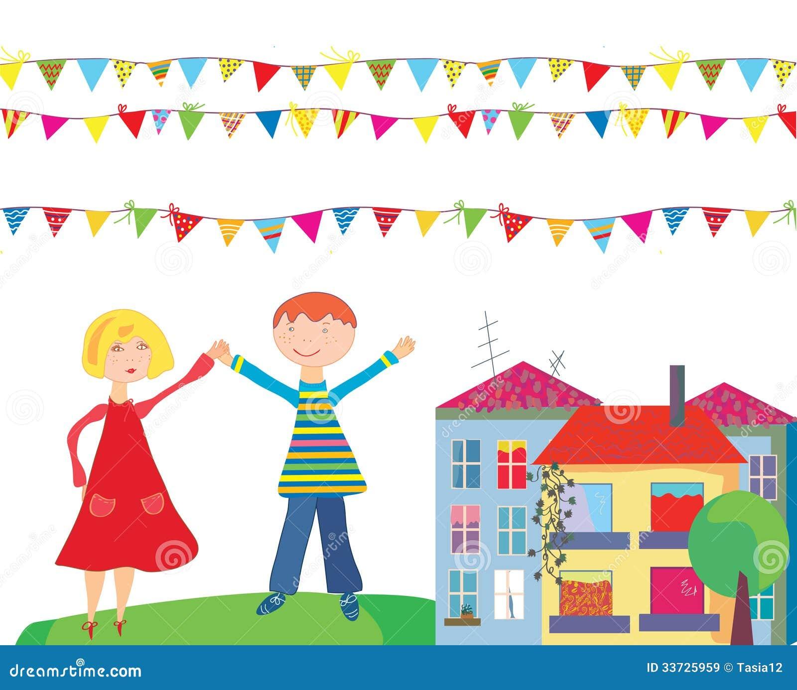 Дети на шарже праздника с флагами