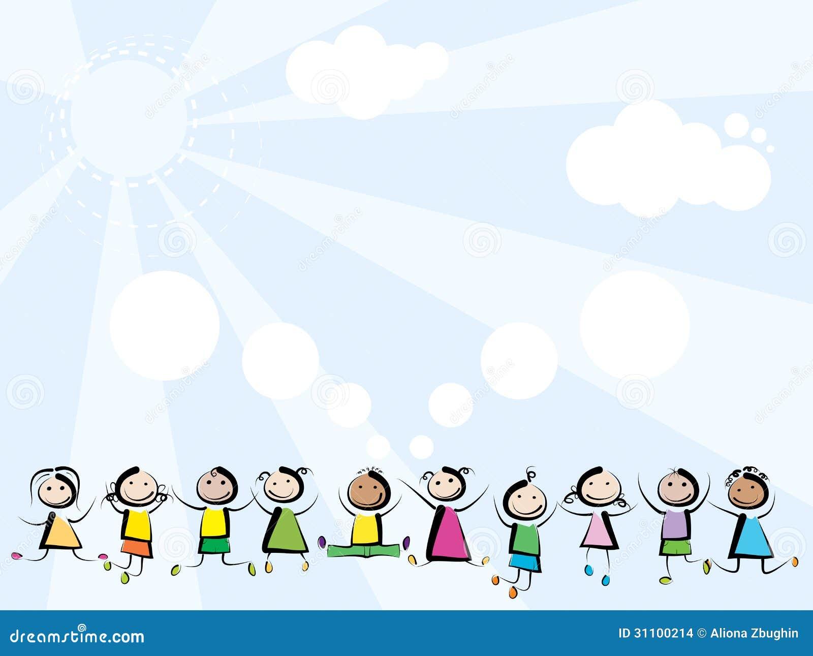 Дети скача на предпосылку неба