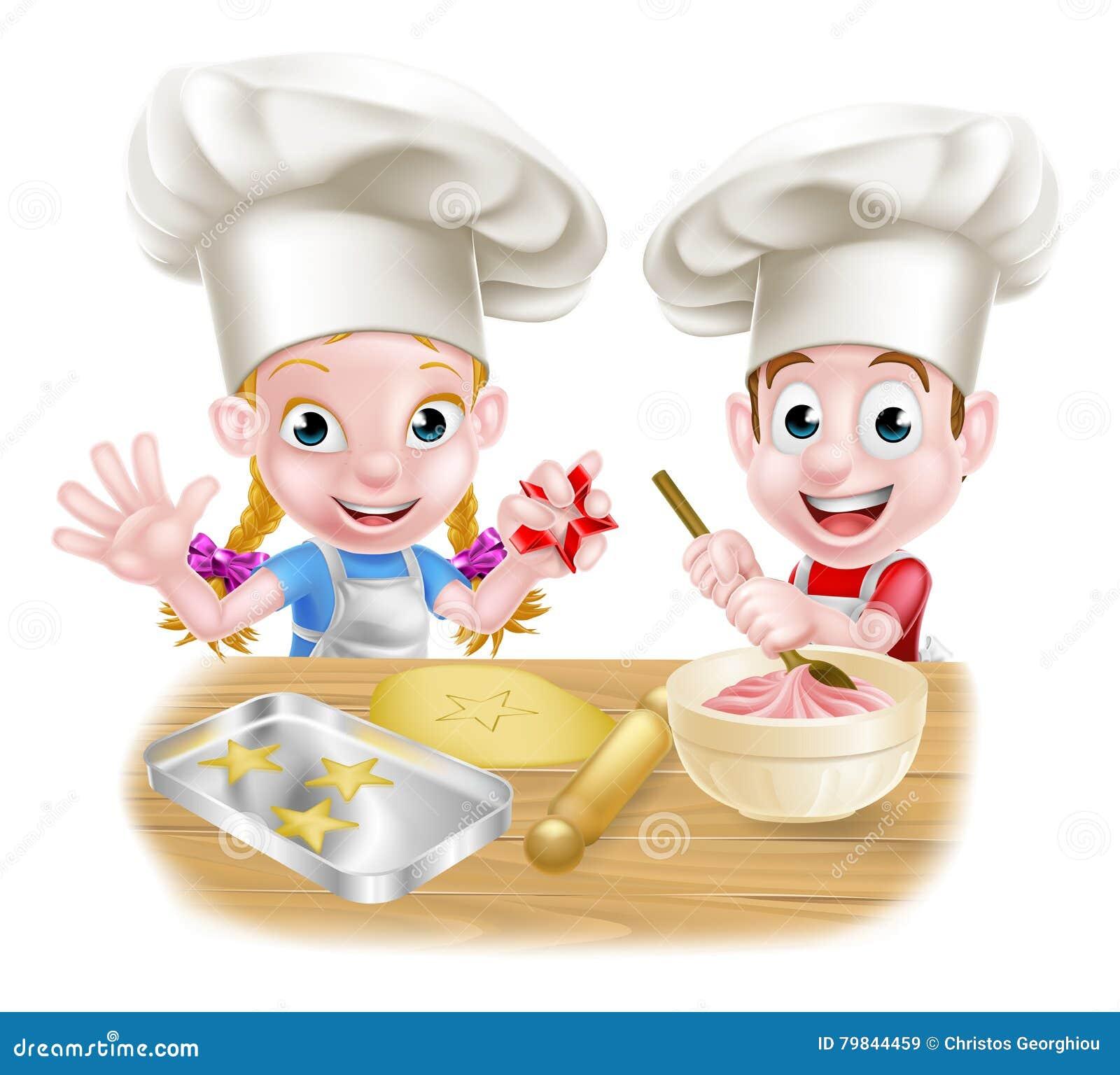 Дети хлебопека шеф-повара шаржа Иллюстрация вектора - иллюстрации насчитывающей хлебопека, шаржа: 79844459