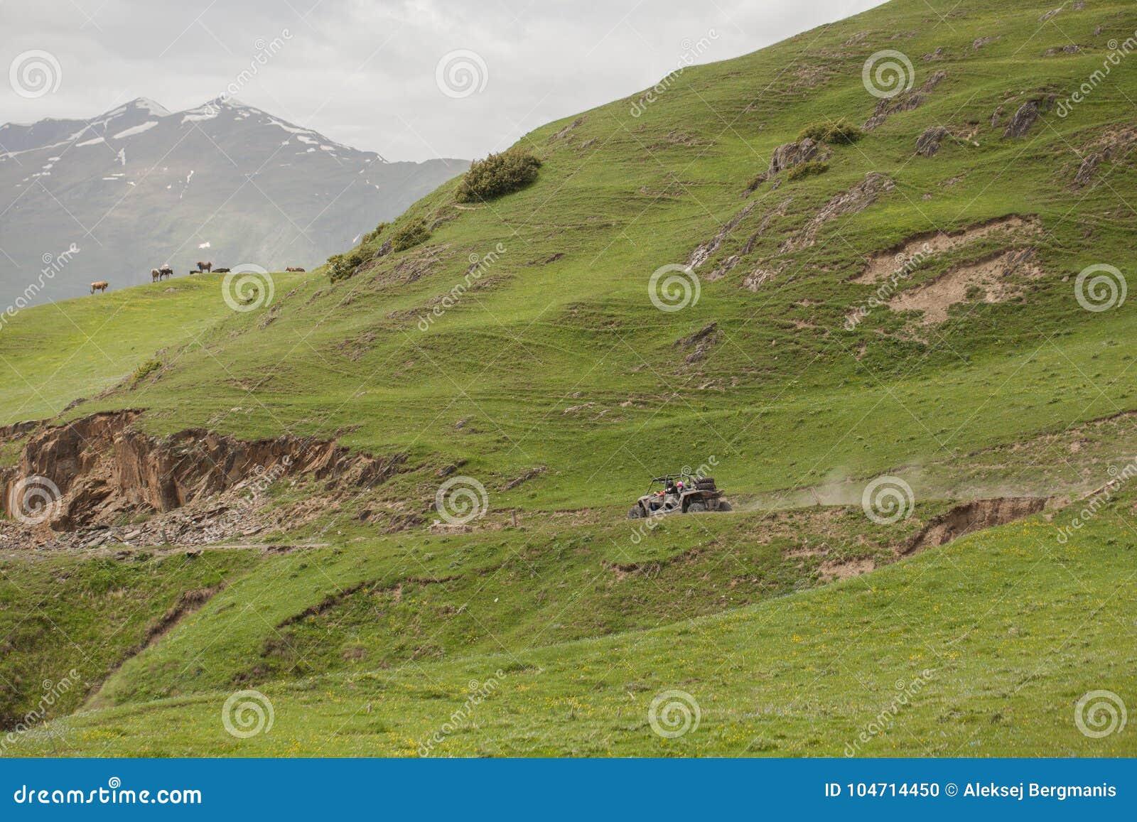Дефектные горы управляя на крайности дороги