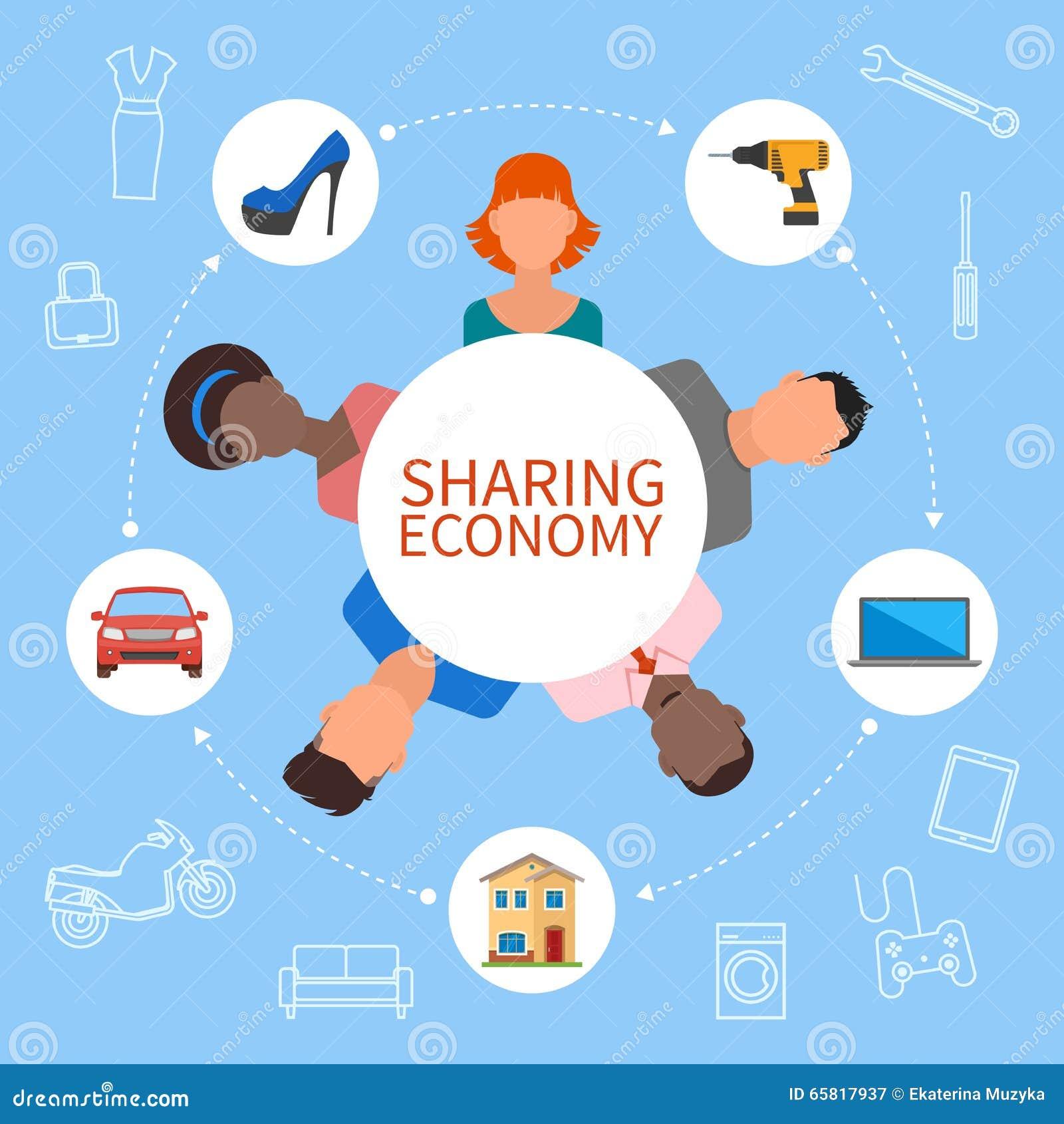 Делить экономику и умную концепцию потребления Иллюстрация вектора в плоском стиле Люди сохраняют деньги, ресурсы доли