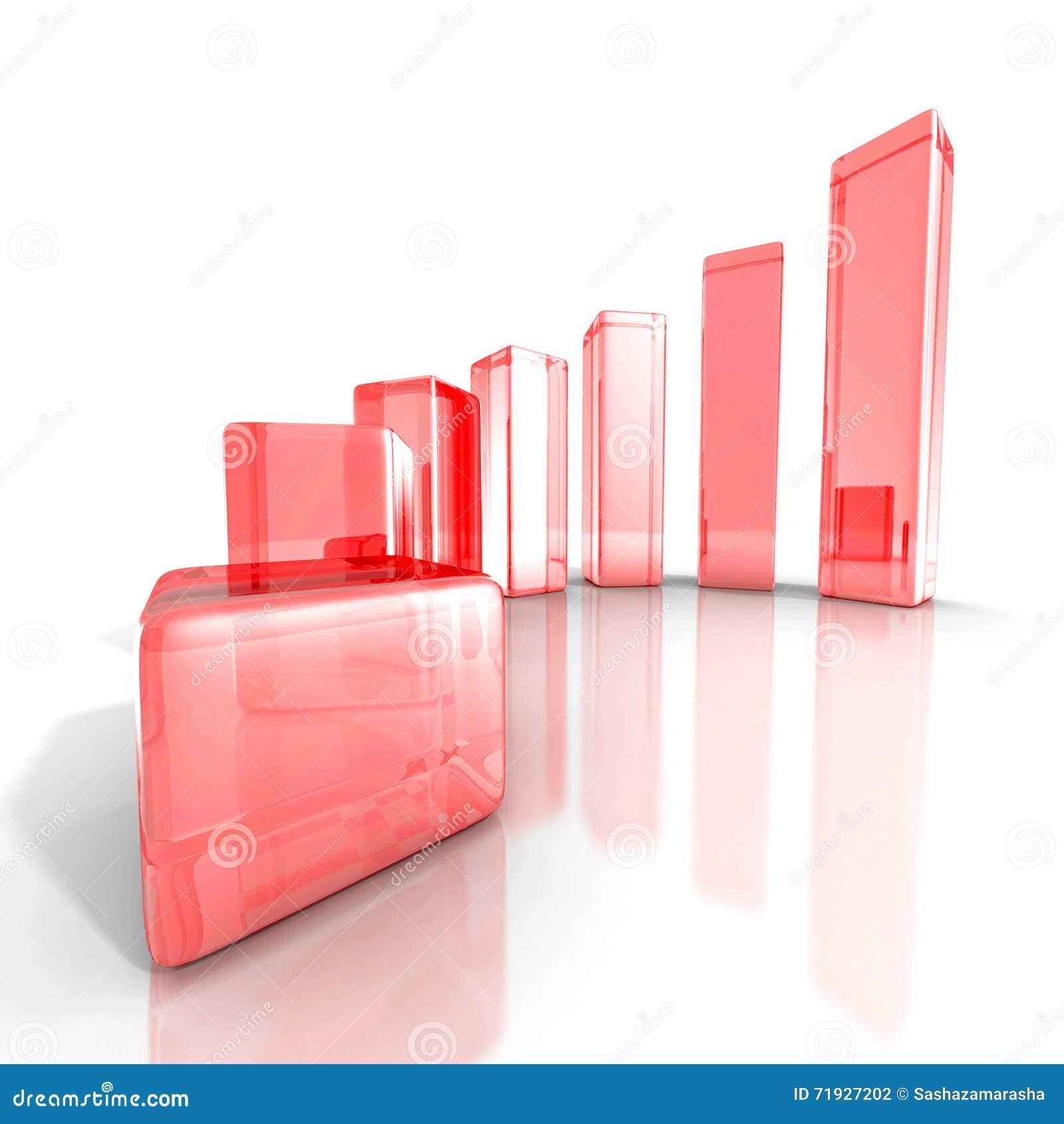 Диаграмма дела успеха красная стеклянная