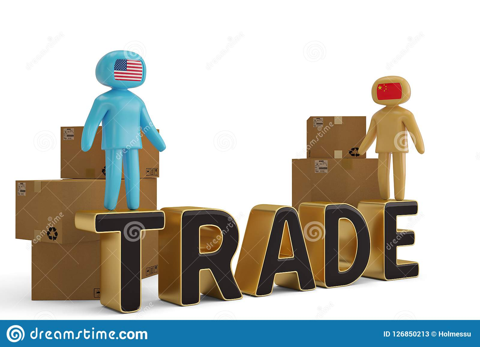 2 диаграмма люди на торговой иллюстрации письма и коробок 3D