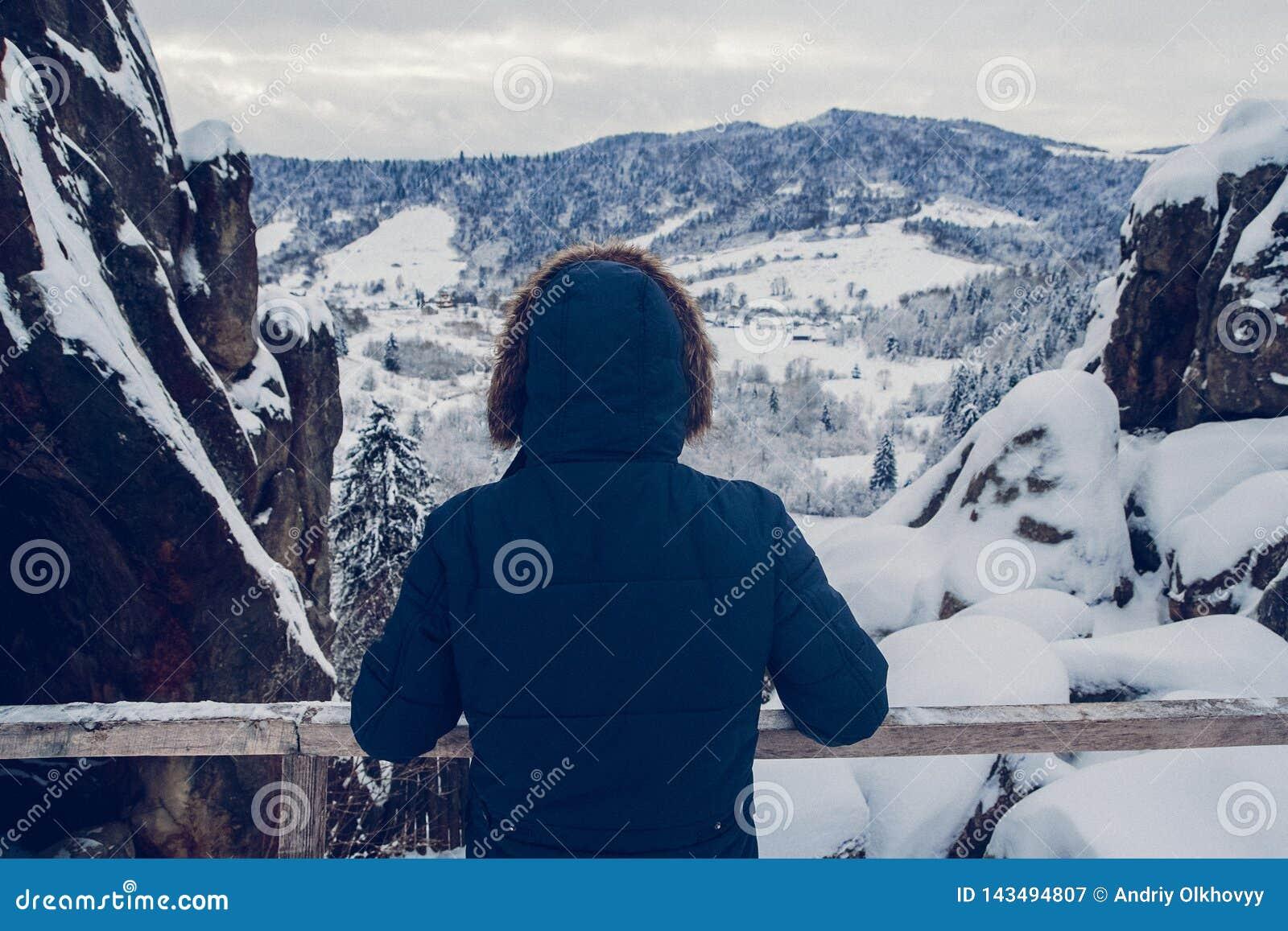 Диаграмма путешественника восходя к саммиту горы на фоне покрытого снег ландшафта, вида сзади