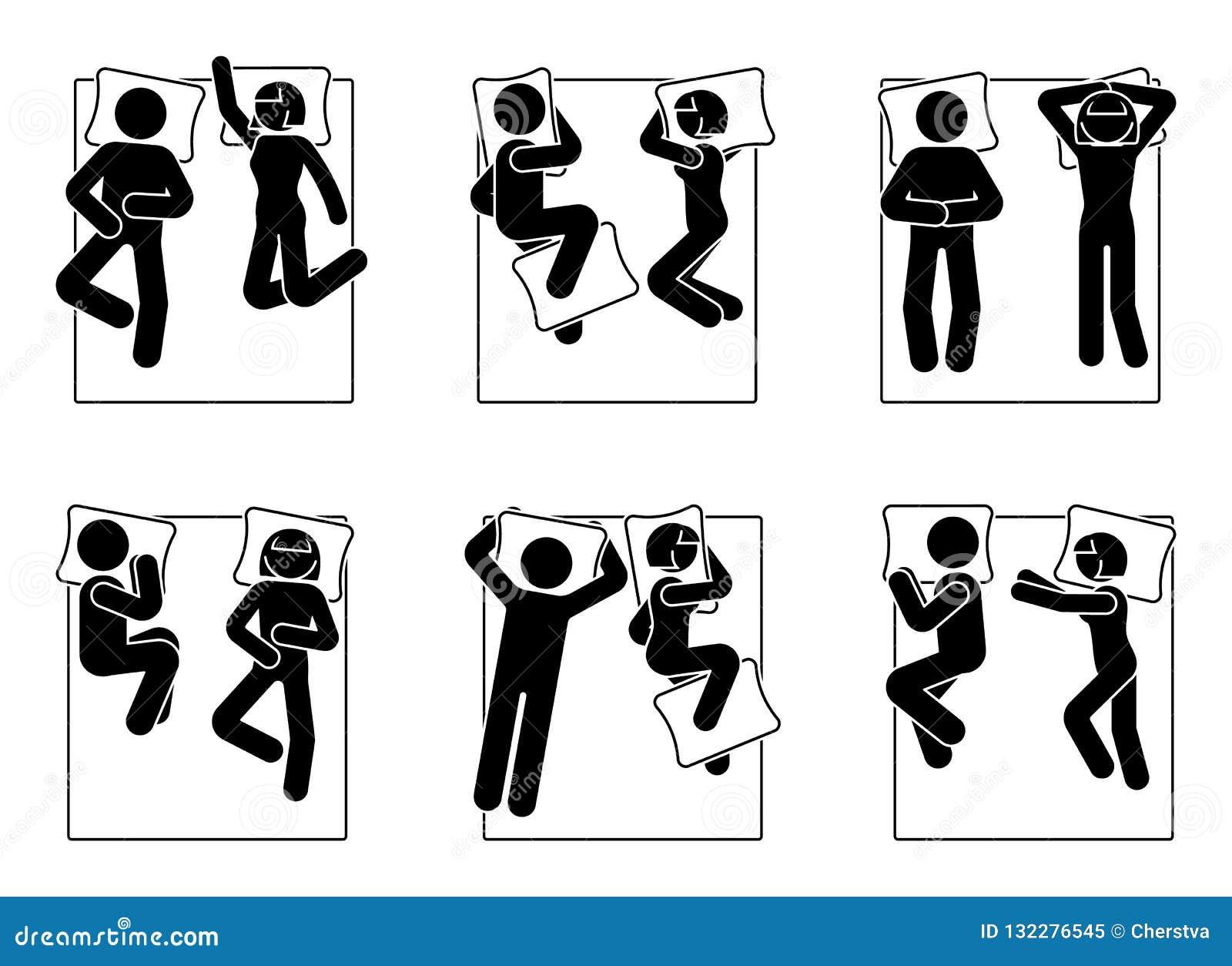 Диаграмма различный набор ручки положений спать Человек и женщина кладя в позиции кровати