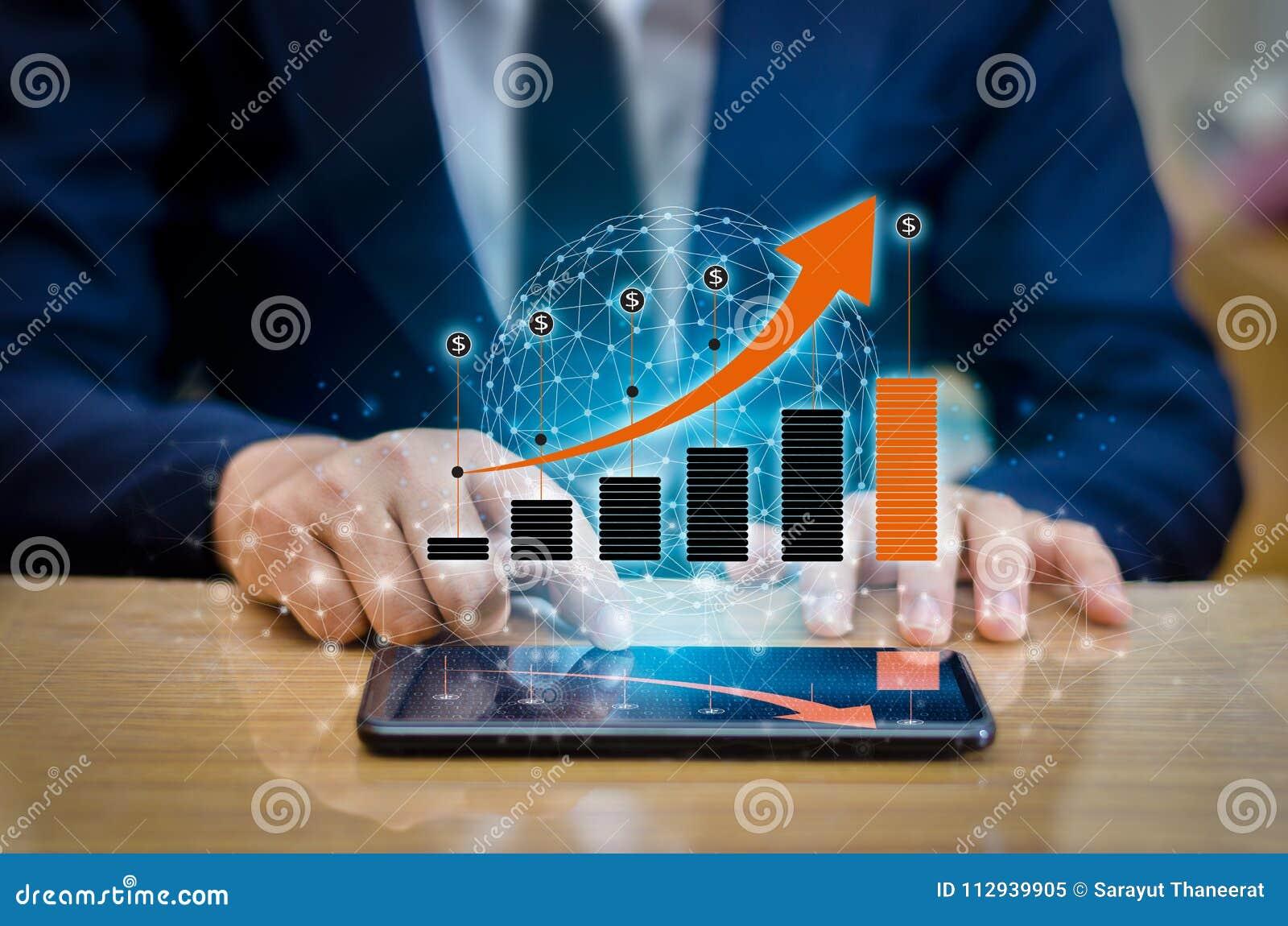 Диаграмма телефонов финансовых глобальных связей роста бинарных умных и предприниматели интернета мира отжимают телефон к communi