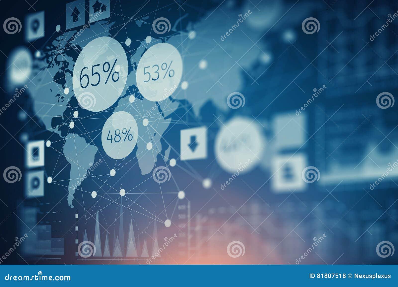 Диаграмма фондовой биржи на голубой предпосылке Мультимедиа